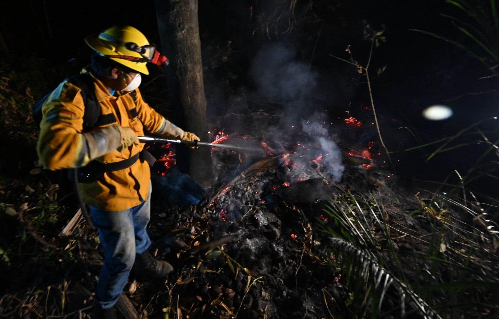 Des pompiers volontaires tentaient jeudi de lutter avec de maigres moyens et des tuyaux d'arrosage contre des feux de forêt qui ravagent le pays.
