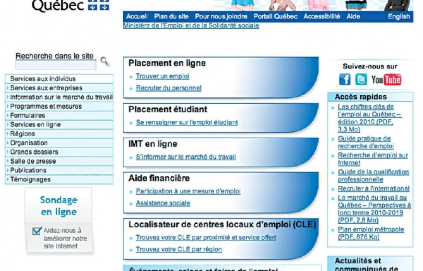 Une partie de la page d'accueil d'Emploi Québec, dans le site du ministère de l'Emploi et de la Solidarité sociale. Le virage numérique de ce ministère en inquiète plus d'un.<br />