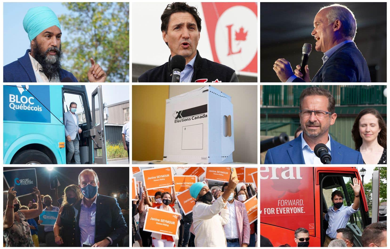 Les chefs du Nouveau Parti démocratique, Jagmeet Singh, du Parti libéral, Justin Trudeau, du Parti conservateur, Erin O'Toole, et du Bloc québécois, Yves-François Blanchet (de gauche à droite; de haut en bas)