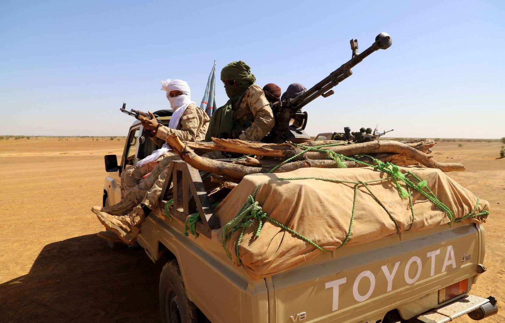 Des forces progouvernementales patrouillent autour de la ville de Ménaka, au Mali, le 21 novembre 2020.