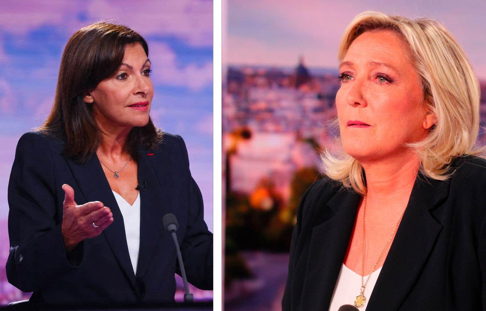 La mairesse de Paris, Anne Hidalgo (à gauche), et la leader d'extrême droite Marine Le Pen
