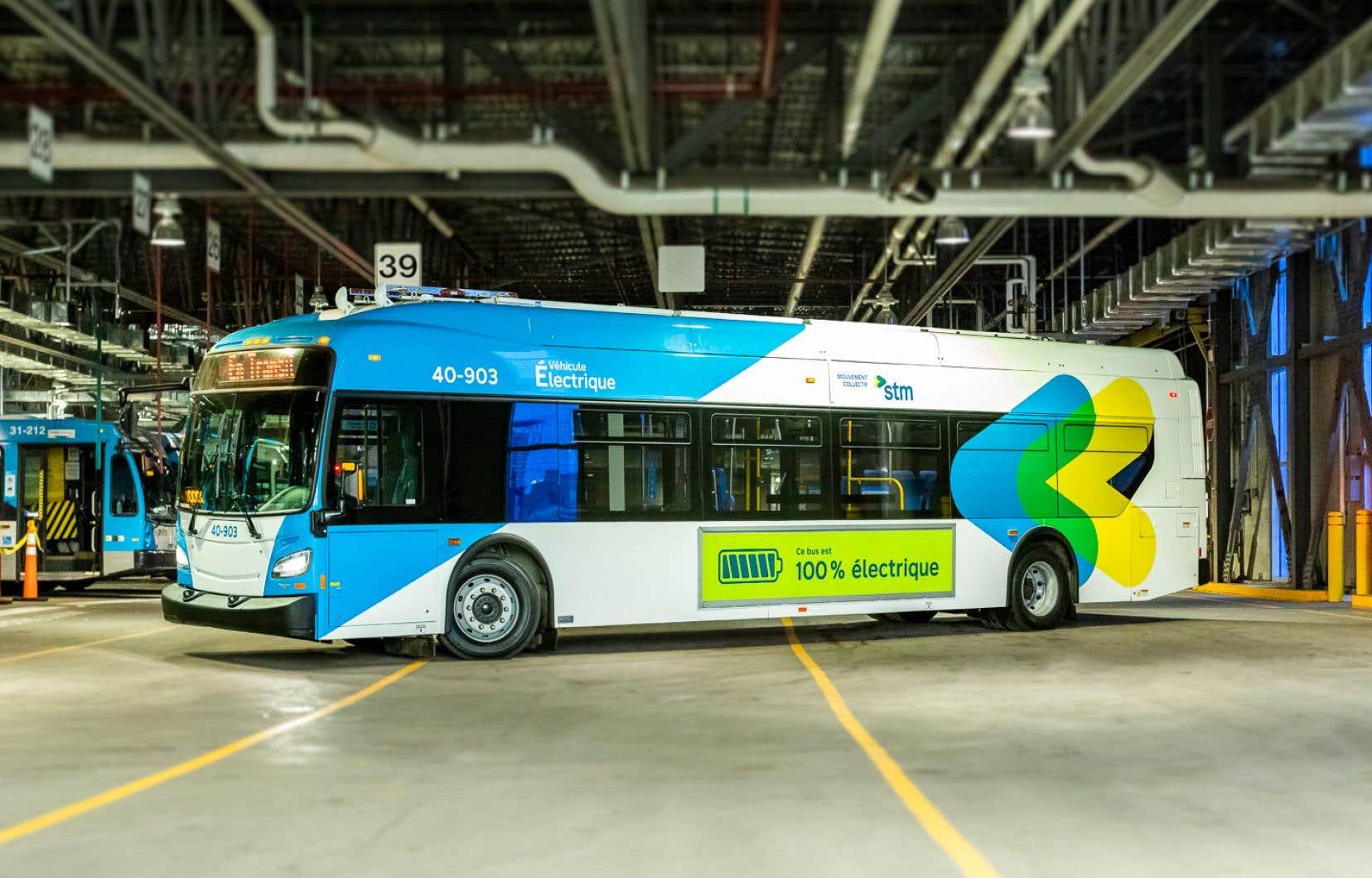 L'un des 30 bus électriques à grande autonomie au centre de transport Stinson.