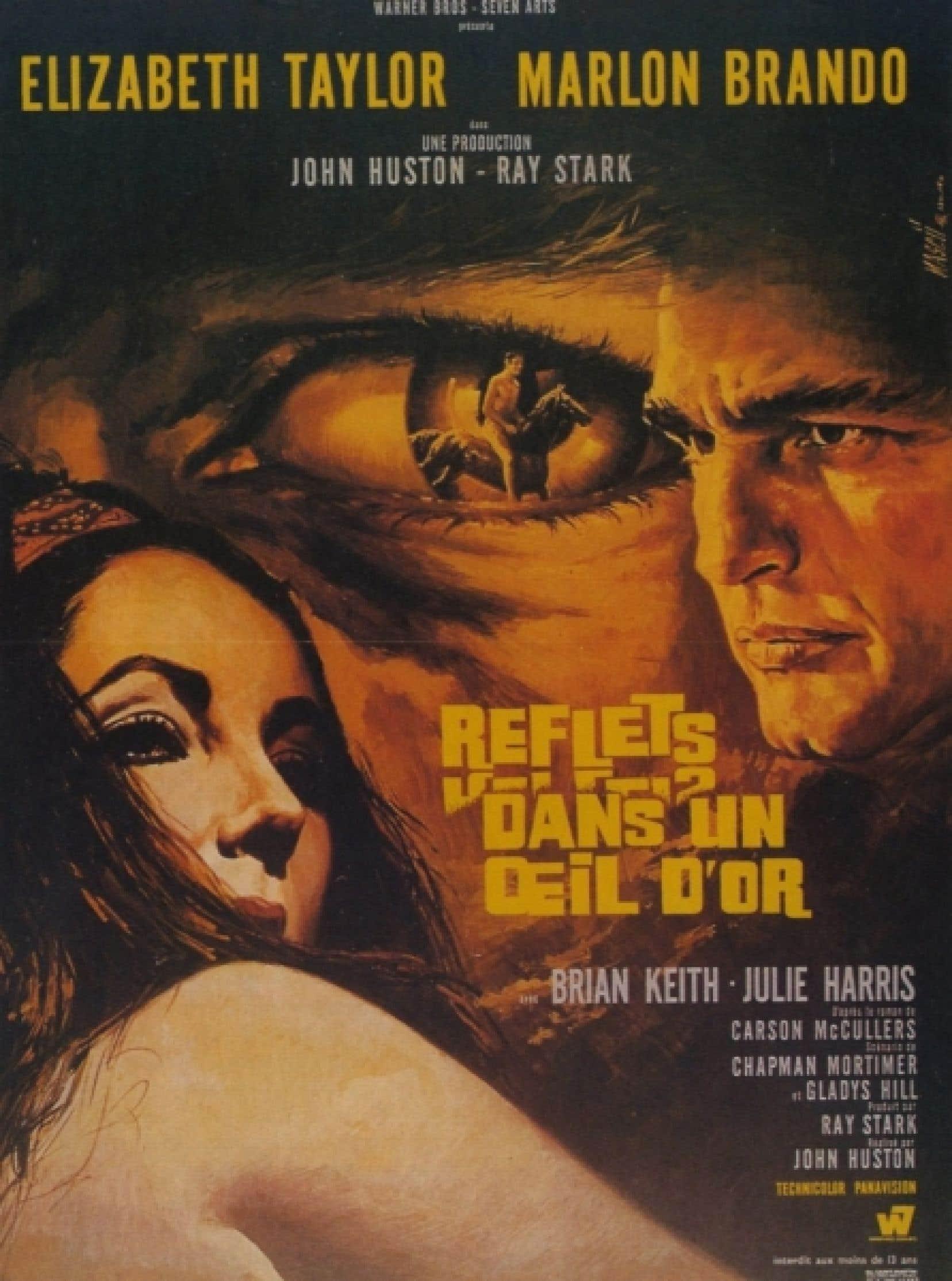 L'affiche française du film Reflections in a Golden Eye, de John Huston d'après le roman de Carson McCullers.<br />