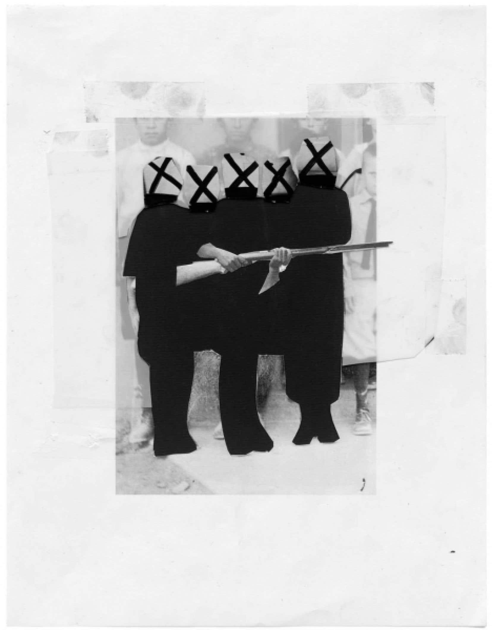 Collage de Sophie Jodoin, 2009-2010. Conté, coupures de magazines, impression jet d'encre, Mylar sur papier, 28 x 21,5 cm<br />