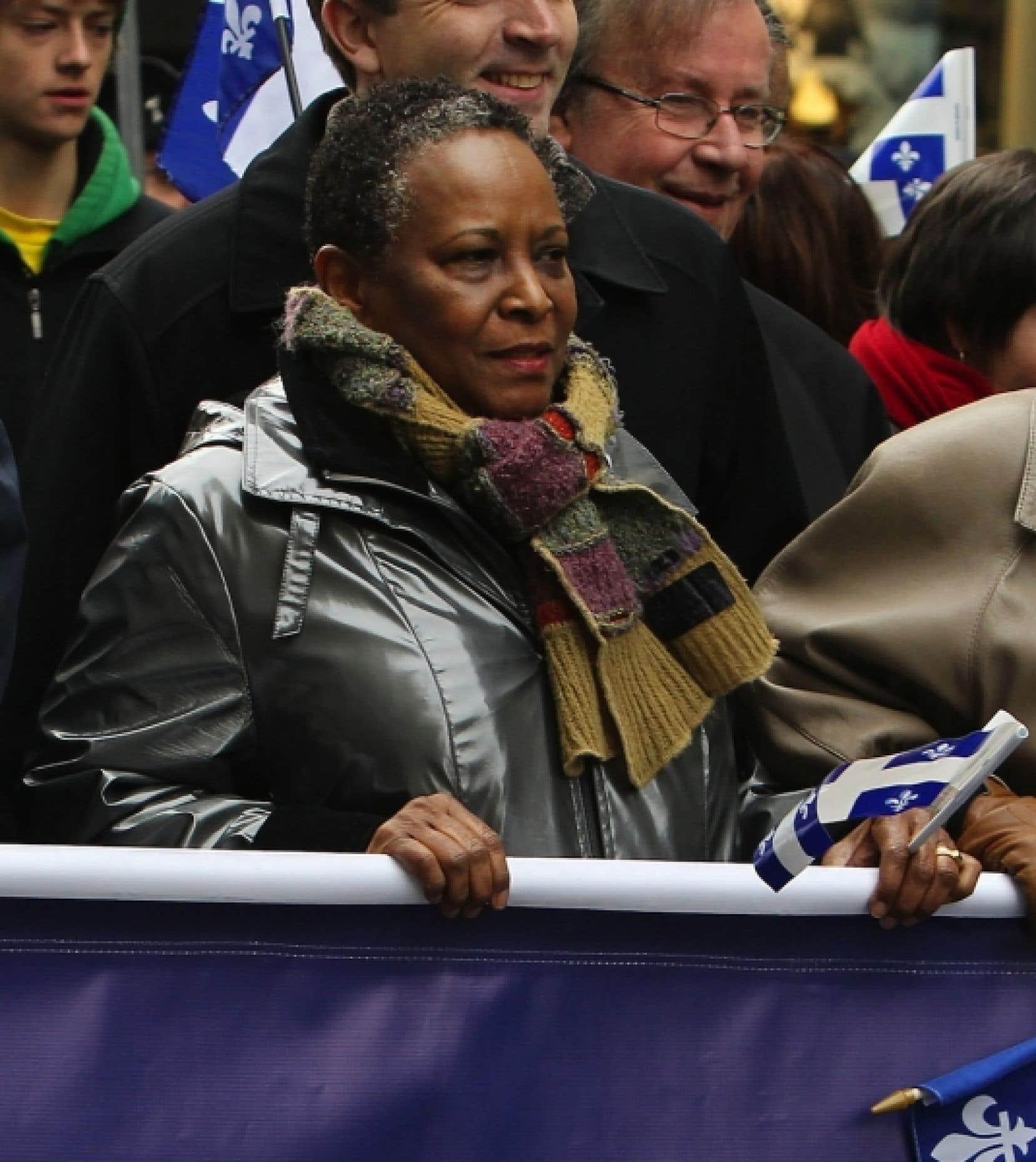 Vivian Barbot lors d'une marche pour l'indépendance, en octobre dernier. <br />