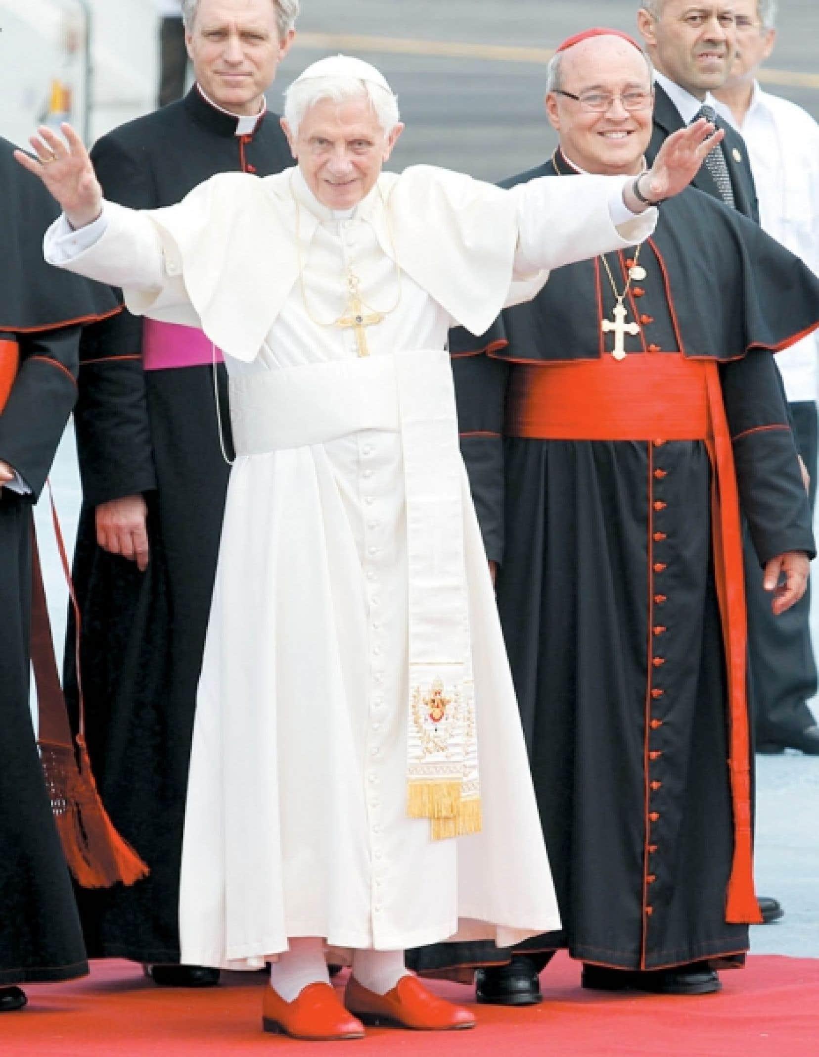 Benoît XVI hier, à son arrivée à La Havane.<br />