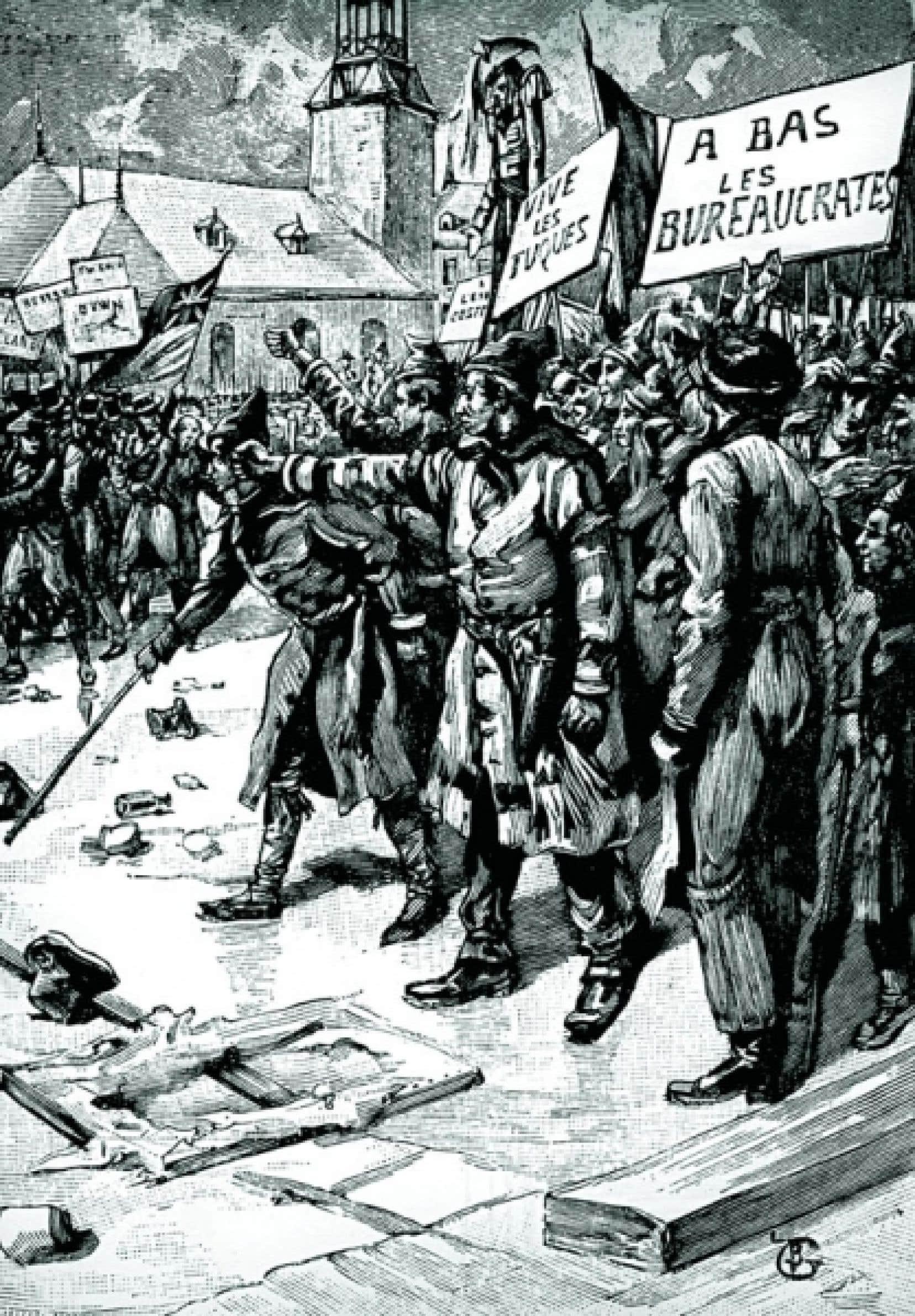 Les Patriotes utilisent le charivari politique. Gravure de Tiret Bognet publiée dans Le Monde illustré en 1890.