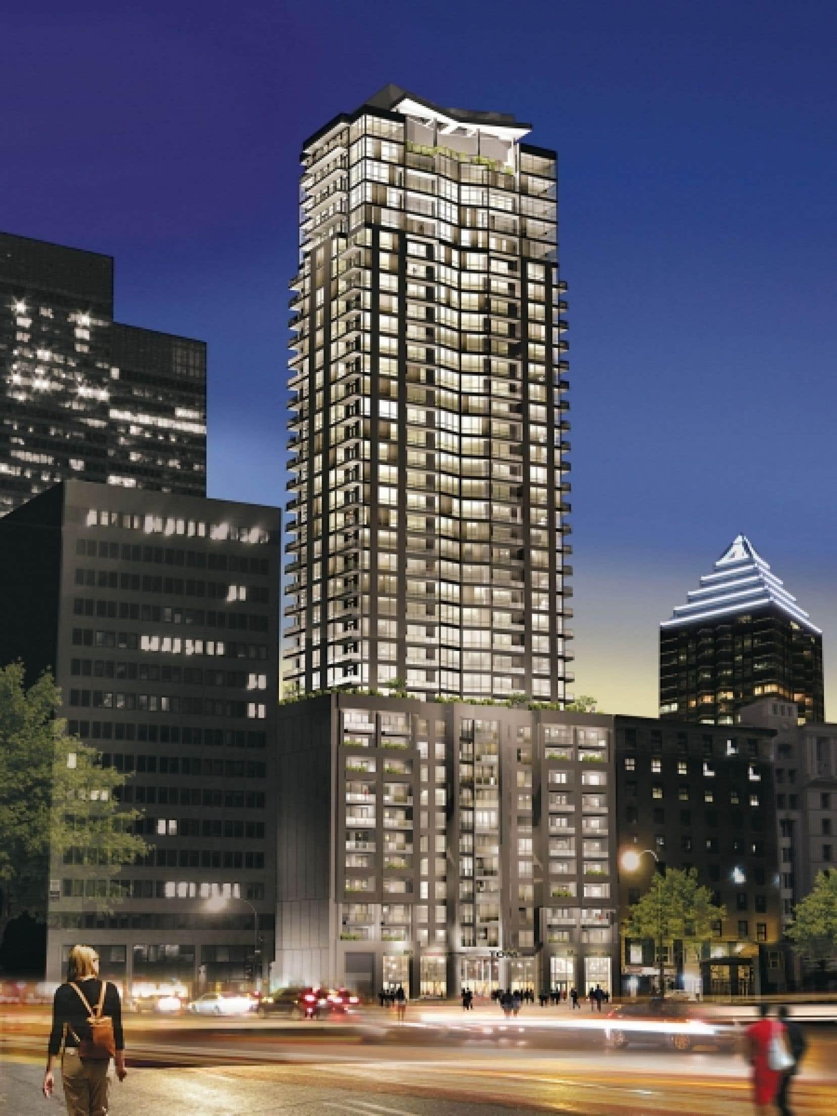 Située au 1200, rue Union, là où se trouve actuellement une aire de stationnement, la tour Tom condos surmontera le centre-ville de Montréal et s'élèvera sur 40 étages.