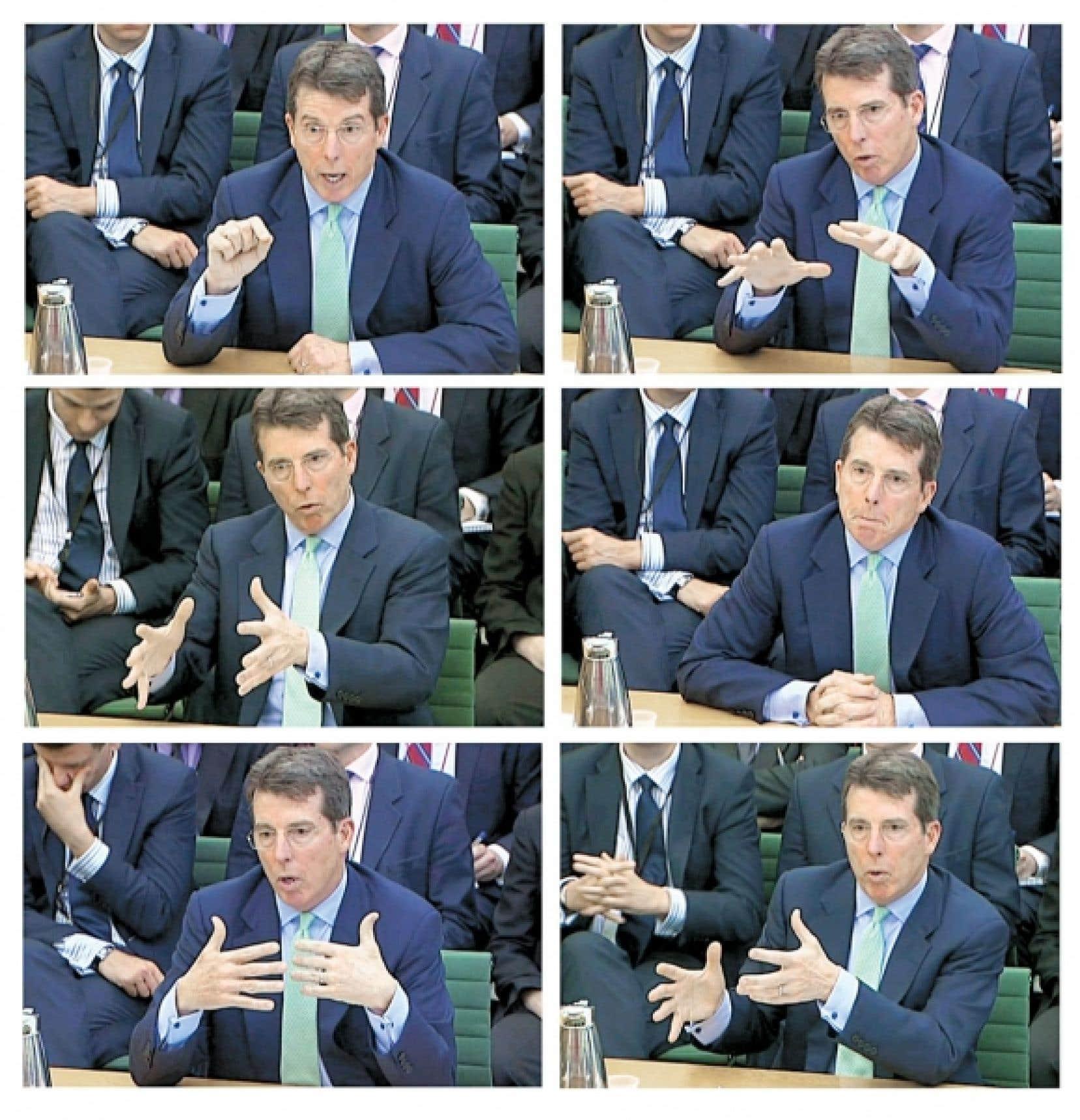 <div> Différentes expressions du directeur général démissionnaire de la Banque Barclays, Bob Diamond, lors de son témoignage devant les députés britanniques.</div>