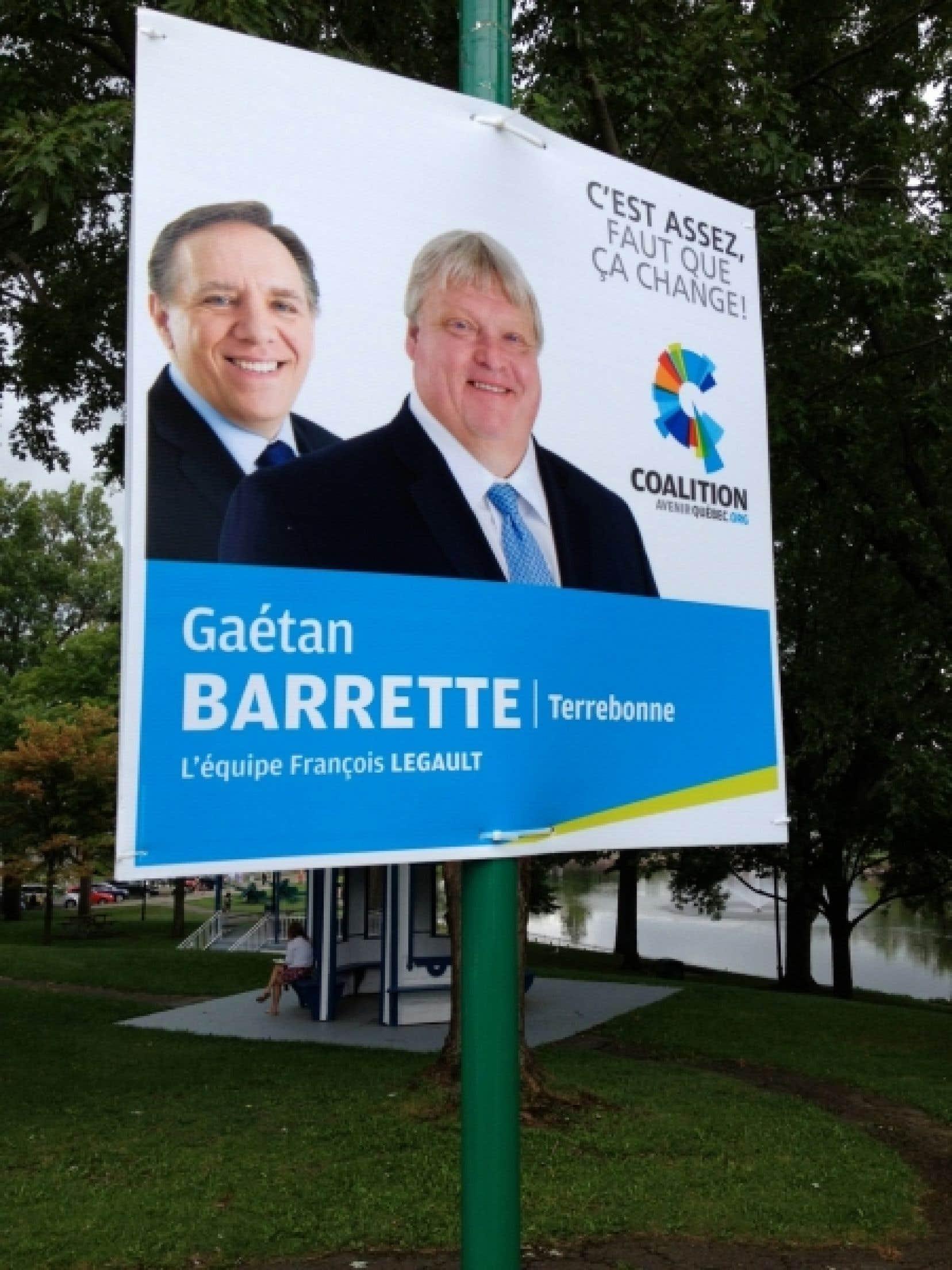 Pancarte électorale de la CAQ à Terrebonne.<br />