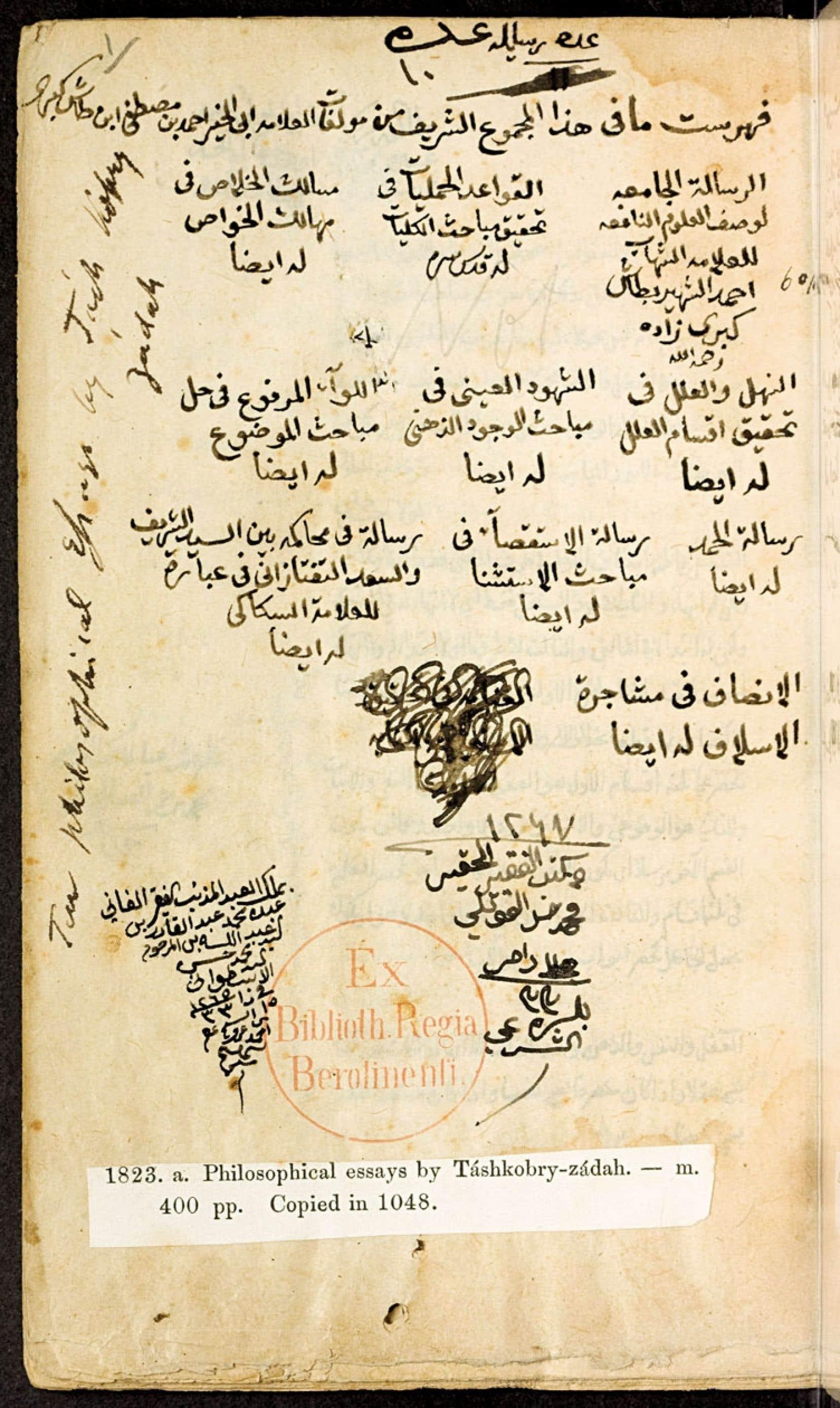 La table des matières d'un recueil de traités philosophiques du penseur ottoman Ahmad b. Mustafa Tashkubrizade, mort en 968 du calendrier musulman, soit en 1560 de l'ère chrétienne. Le manuscrit appartient à la Staatsbibliothek de Berlin, plus précisément à la collection de l'orientaliste autrichien Aloys Sprenger (1813-1893).