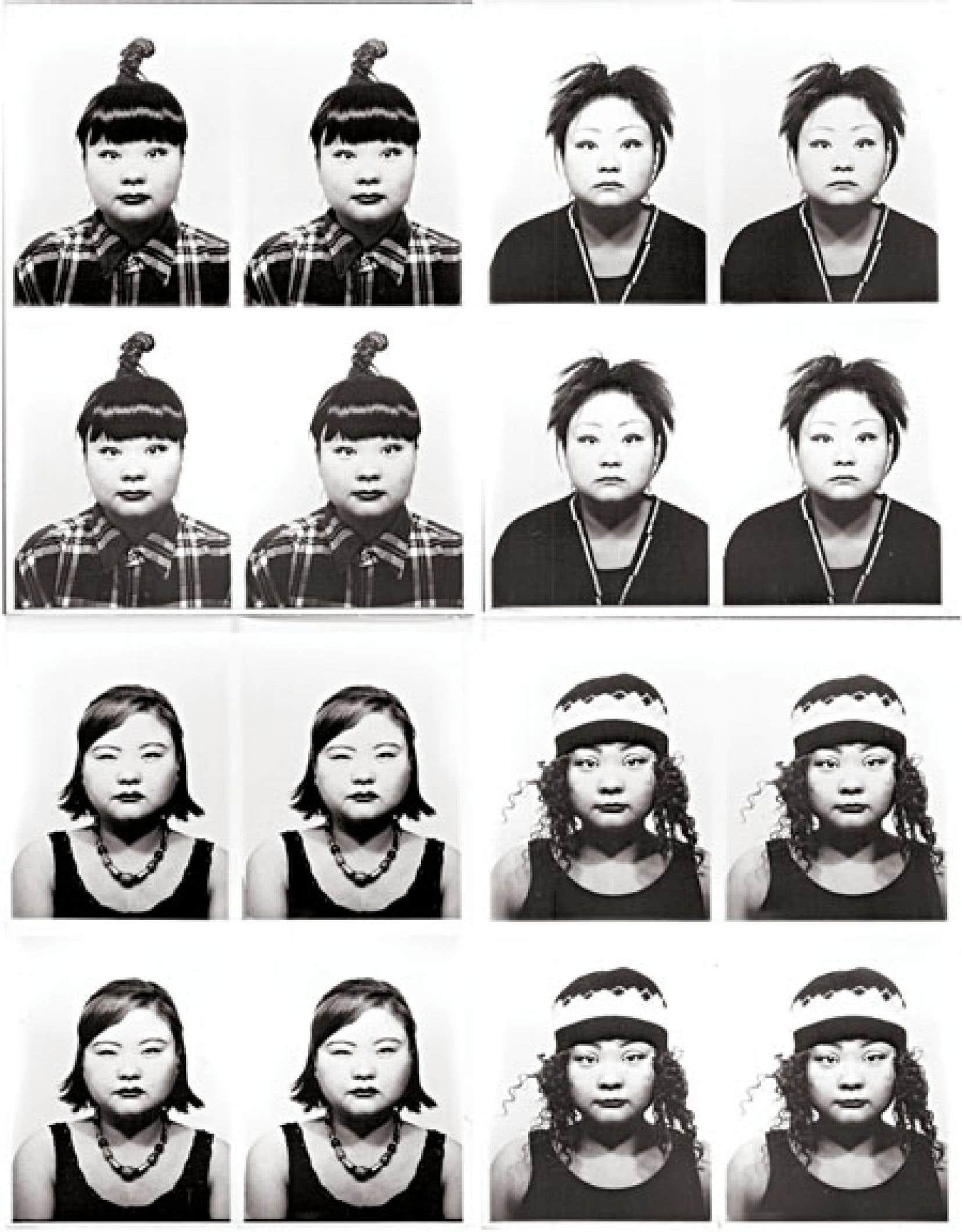 Tomoko Sawada, ID400, 1998, détail. 4 cadres de 100 épreuves à la gélatine argentique. Avec l'aimable autorisation de l'artiste et de MEM, Tokyo.