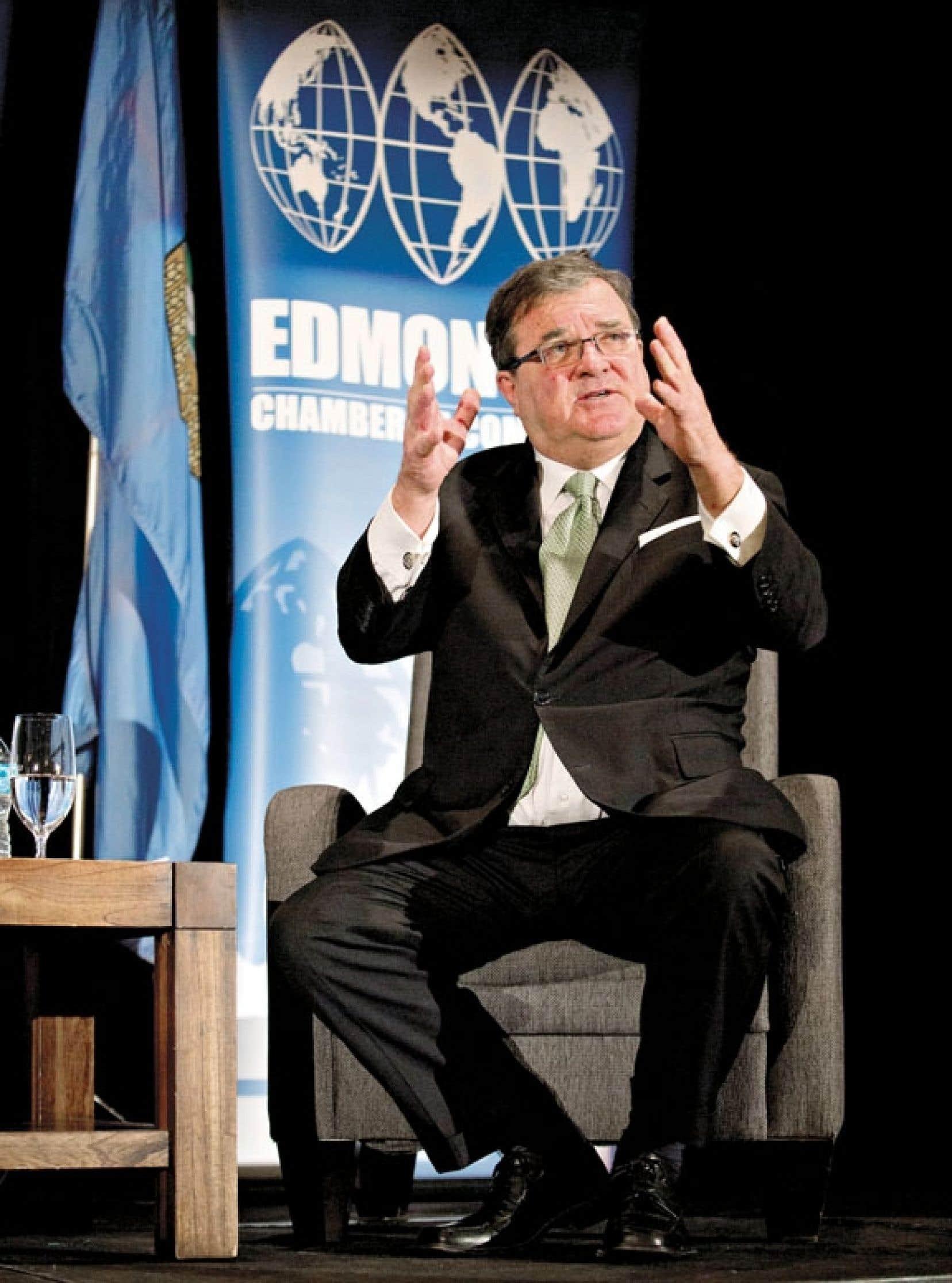 Jim Flaherty était à Edmonton pour sa mise à jour économique.