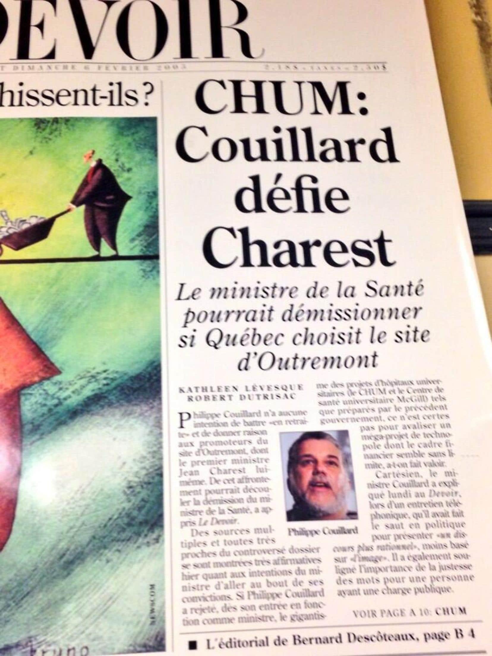 Philippe Couillard, en une du <em>Devoir</em> en 2005, &eacute;poque o&ugrave; il &eacute;tait une Fatima pour son chef, Jean Charest.