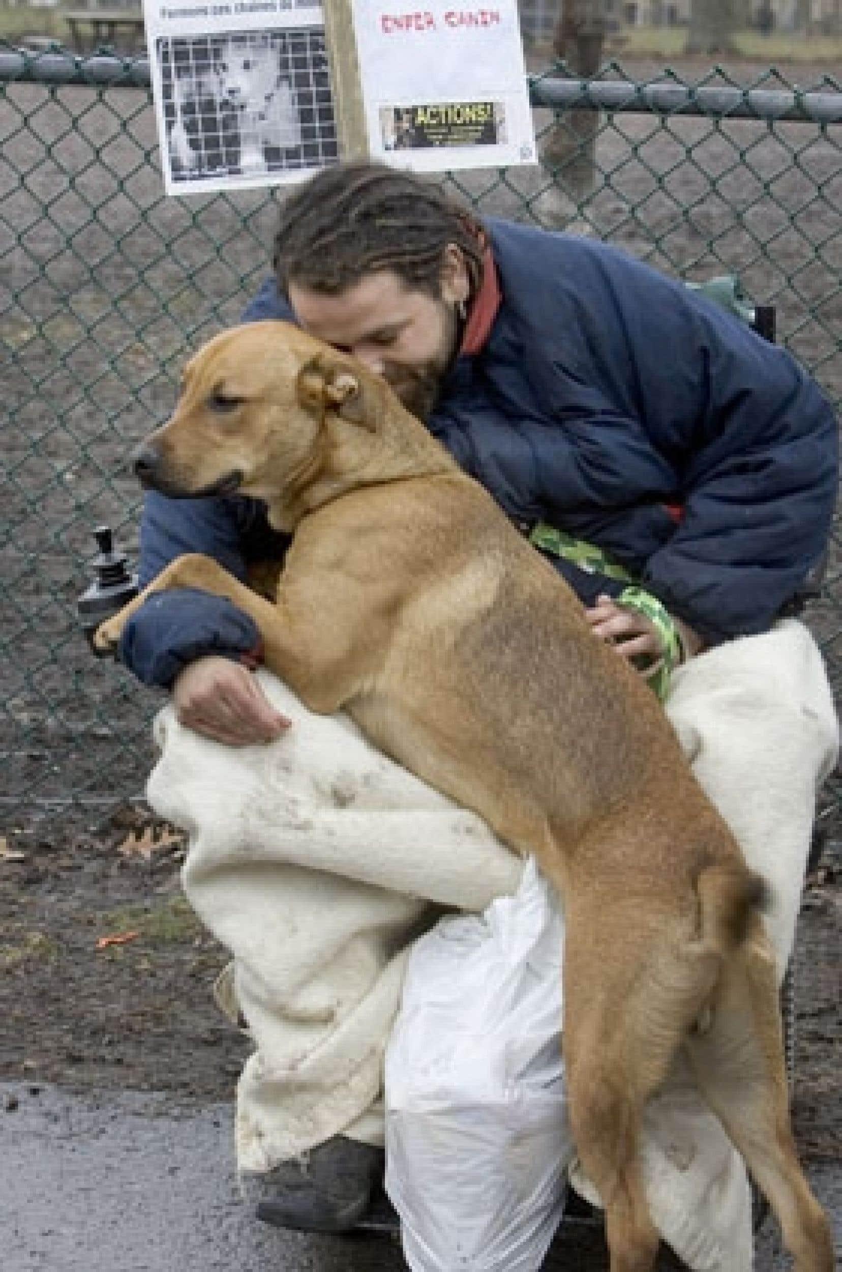 Gary et son chien Bazou se sont joints hier à la manifestation pour dénoncer les conditions d'élevage des animaux de compagnie au Québec.