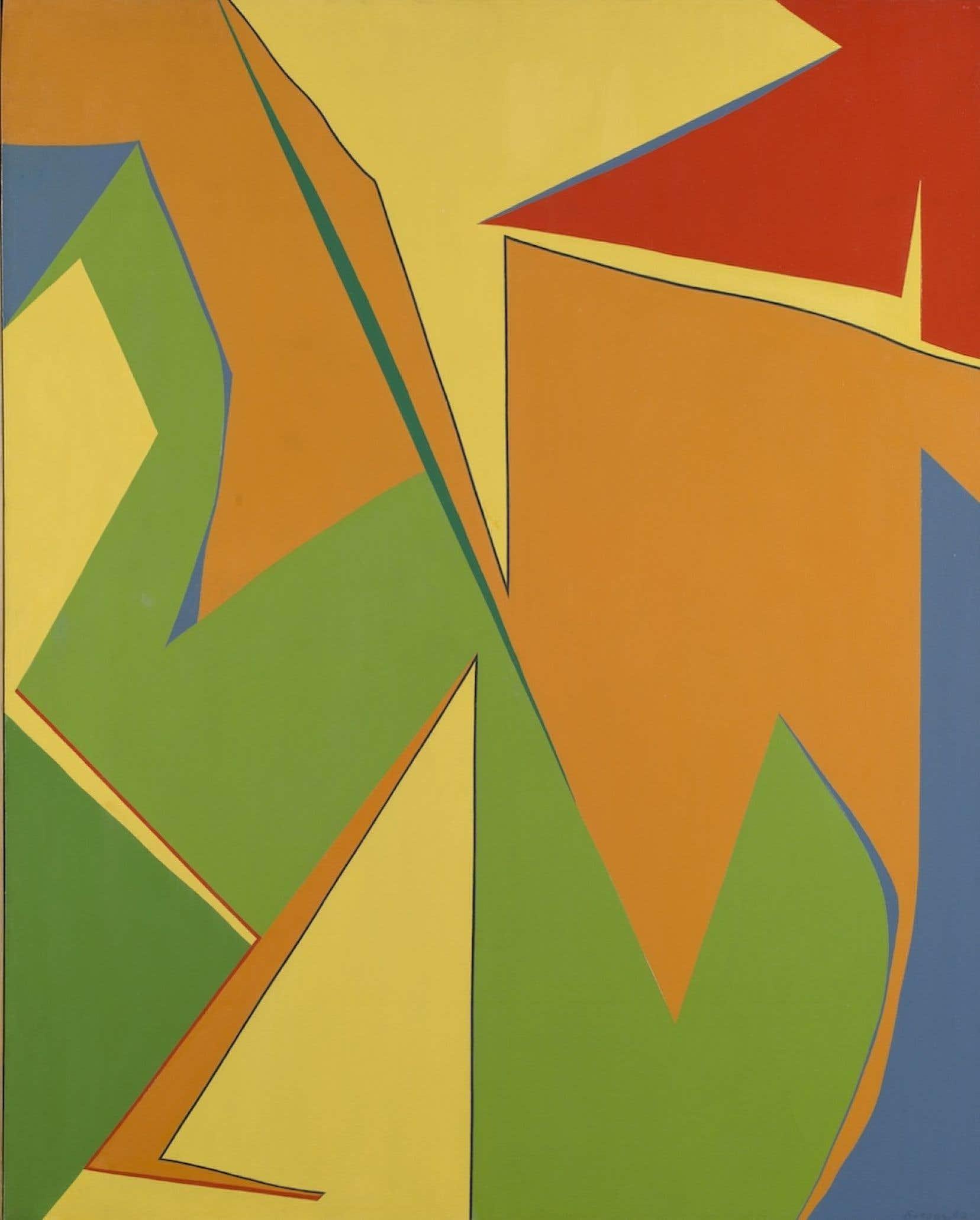 Jaune, huile sur toile réalisée en 1962. Le peintre Fernand Leduc, l'un des signataires du manifeste Refus global, vient de disparaître à l'âge de 97 ans.