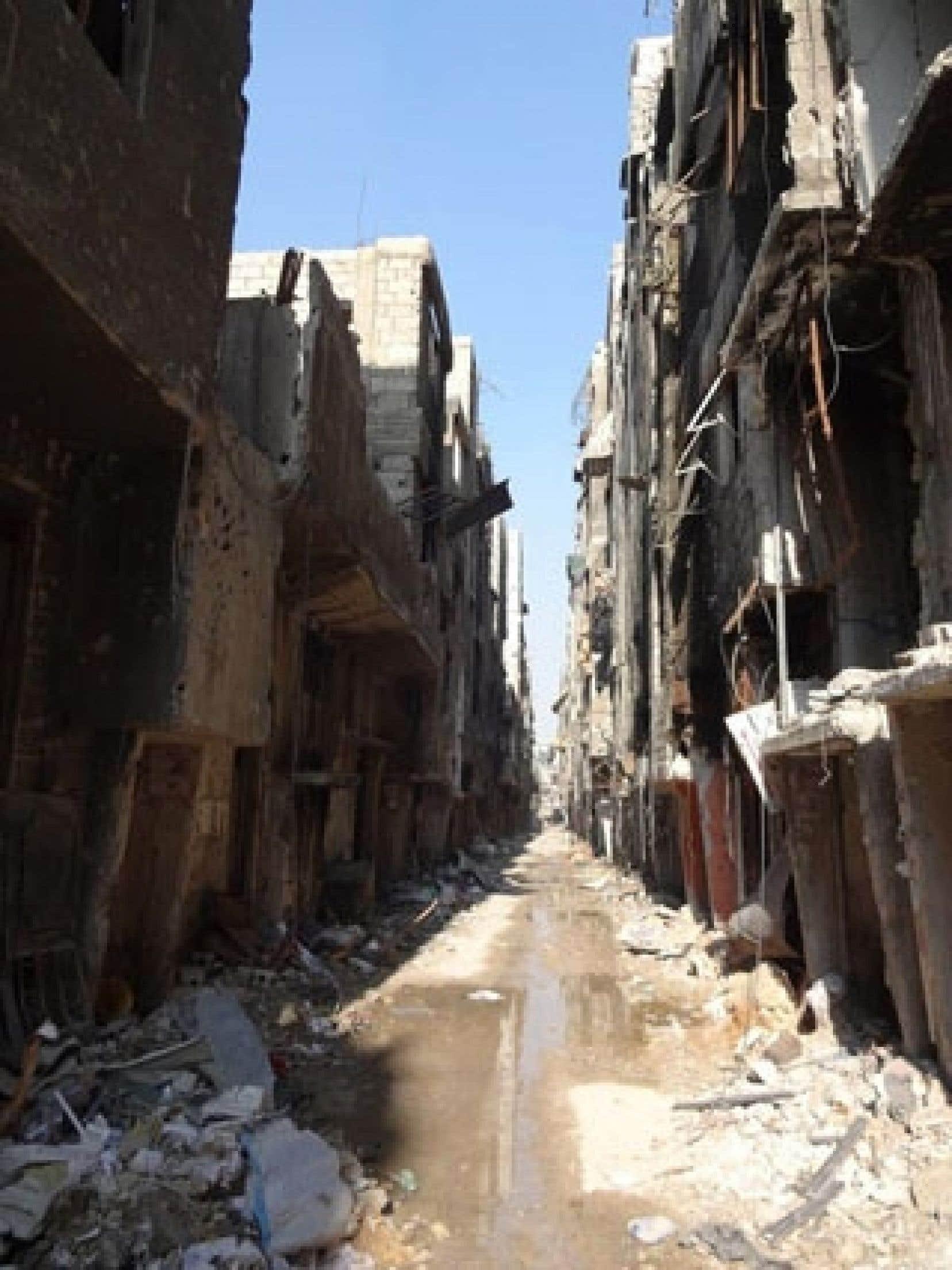 Une rue de Yarmouk photographiée le 21 janvier dernier par l'agence de l'ONU pour l'aide aux réfugiés palestiniens (UNWRA).