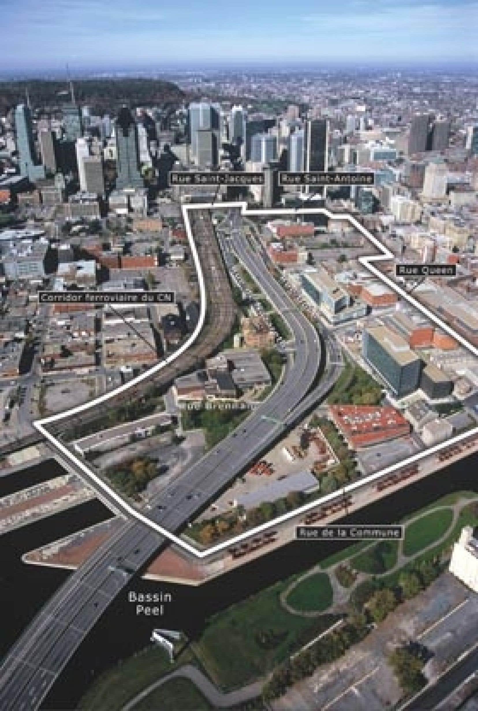 Plan d'aménagement mis de l'avant par la Société du Havre pour la revitalisation du quartier autour de l'autoroute Bonaventure
