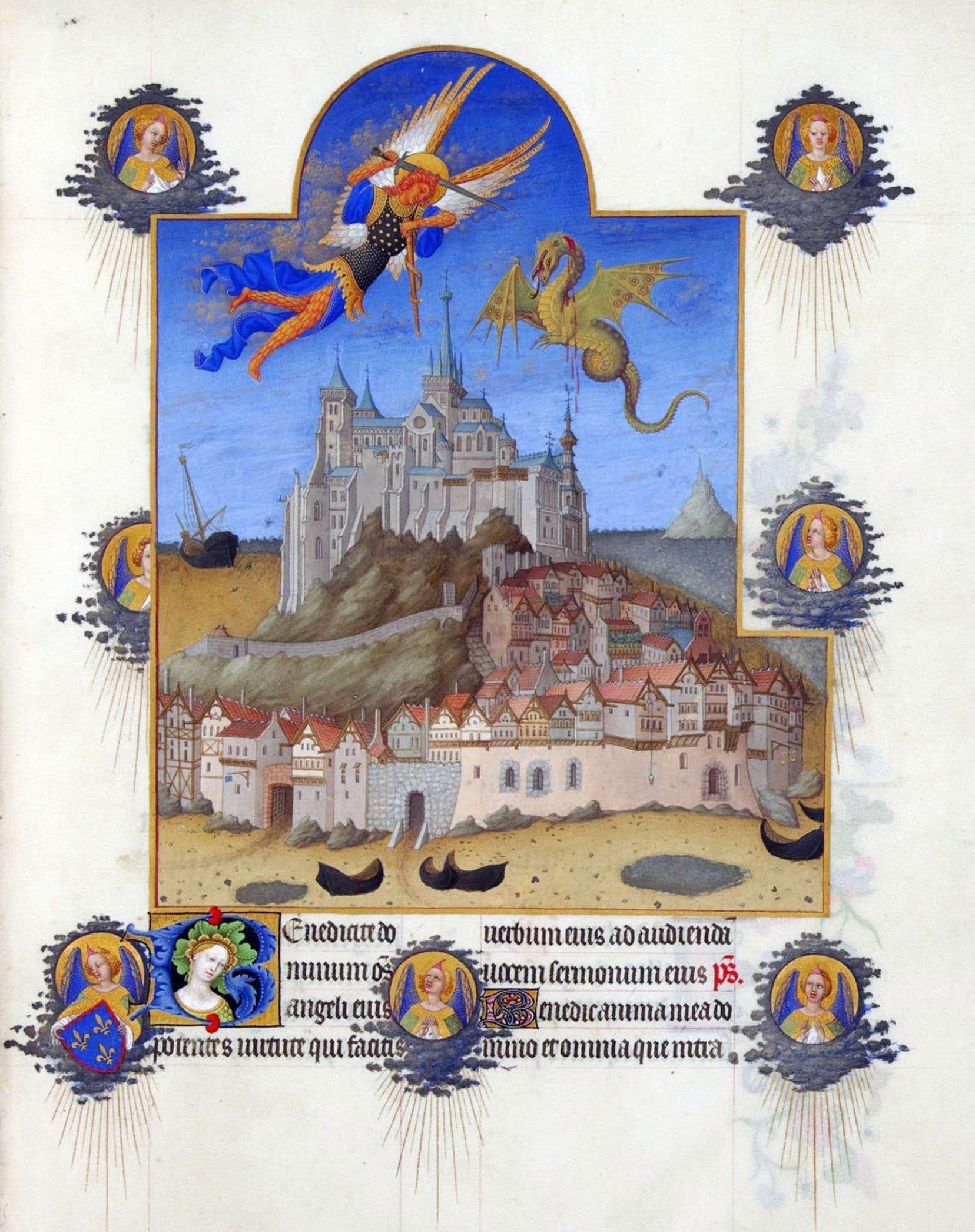 Combat entre l'archange saint Michel et le dragon au-dessus du mont Saint-Michel. L'ouvrage Aristote au mont Saint-Michel, du médiéviste Sylvain Gouguenheim, a été cloué au pilori.
