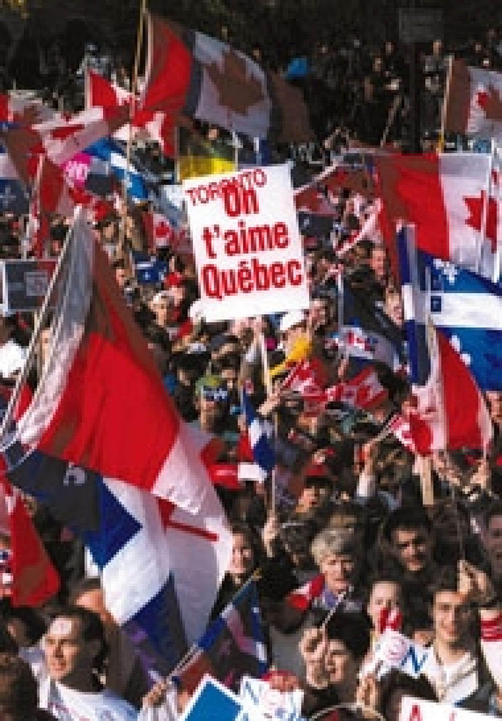 La démonstration d'amour de Canadiens à Montréal la semaine précédent le référendum de 1995.