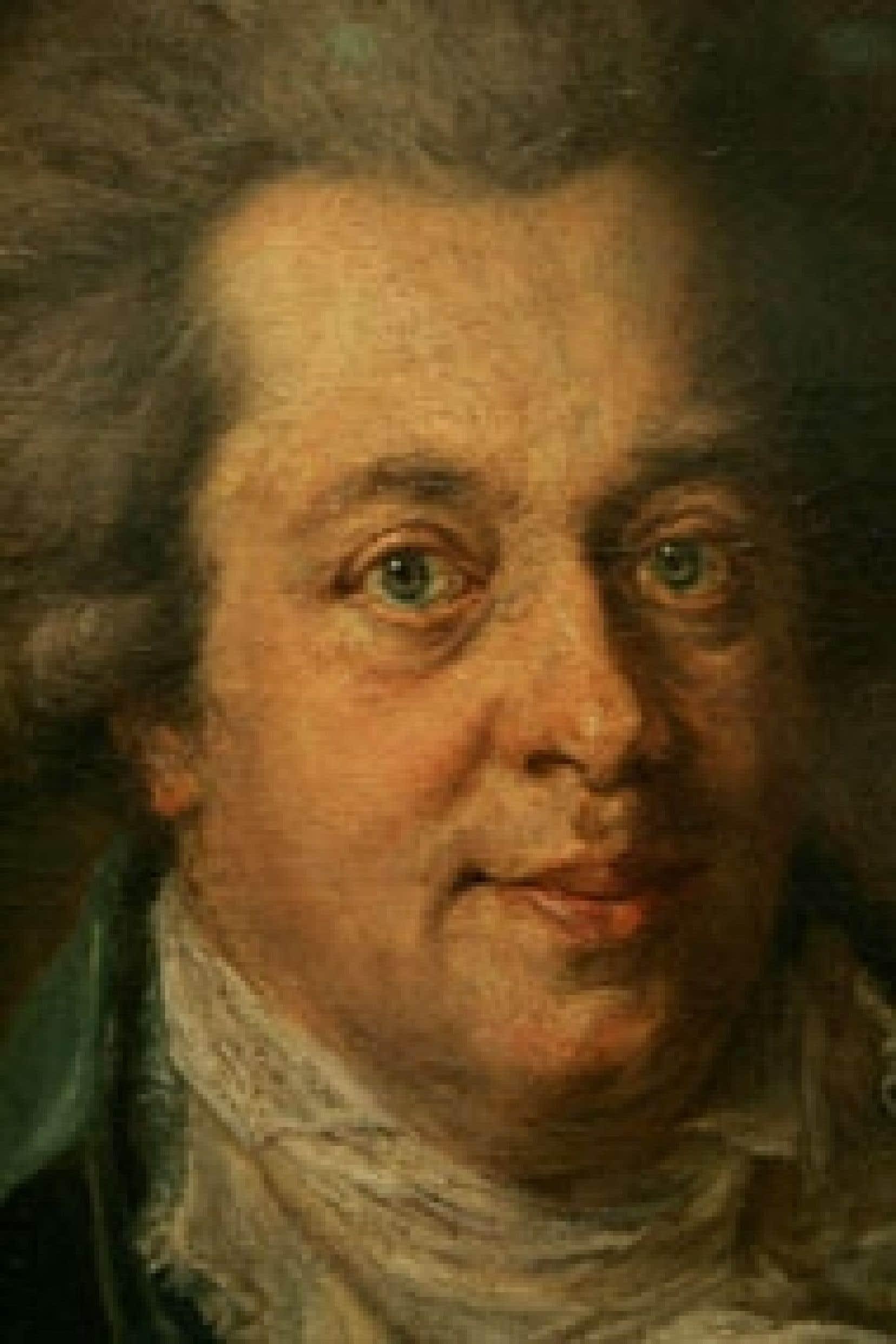 La légende veut que ce soit le fossoyeur du cimetière, bien au fait de l'endroit où reposait Mozart, qui aurait retiré en secret le crâne du compositeur, immortalisé ici par le peintre allemand Johann Edlinger.