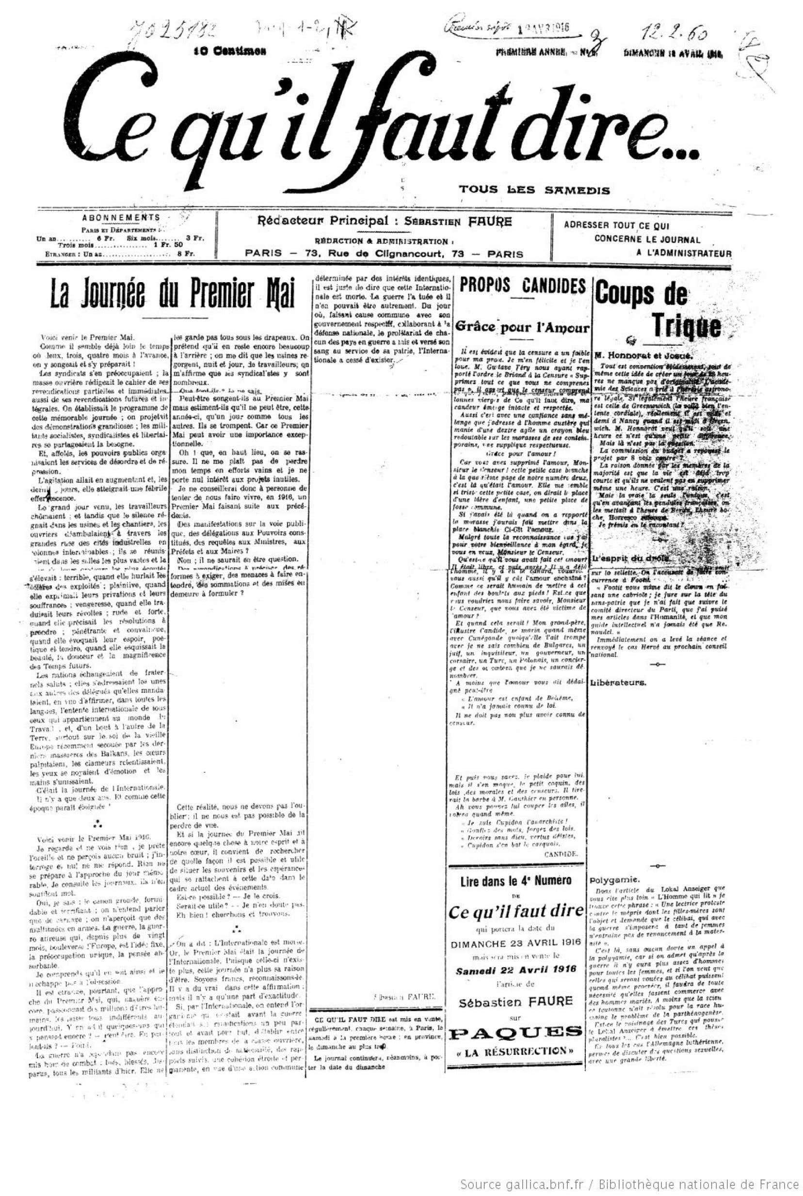 Censure dans le journal anarchiste français «Ce qu'il faut dire» du 18 avril 1916
