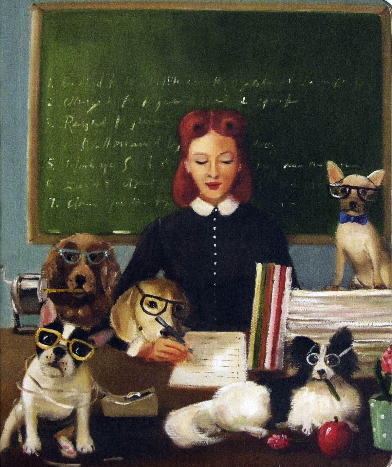 Chacune des leçons de vie est accompagnée d'une œuvre mettant en scène l'élégante gouvernante et ses «élèves».