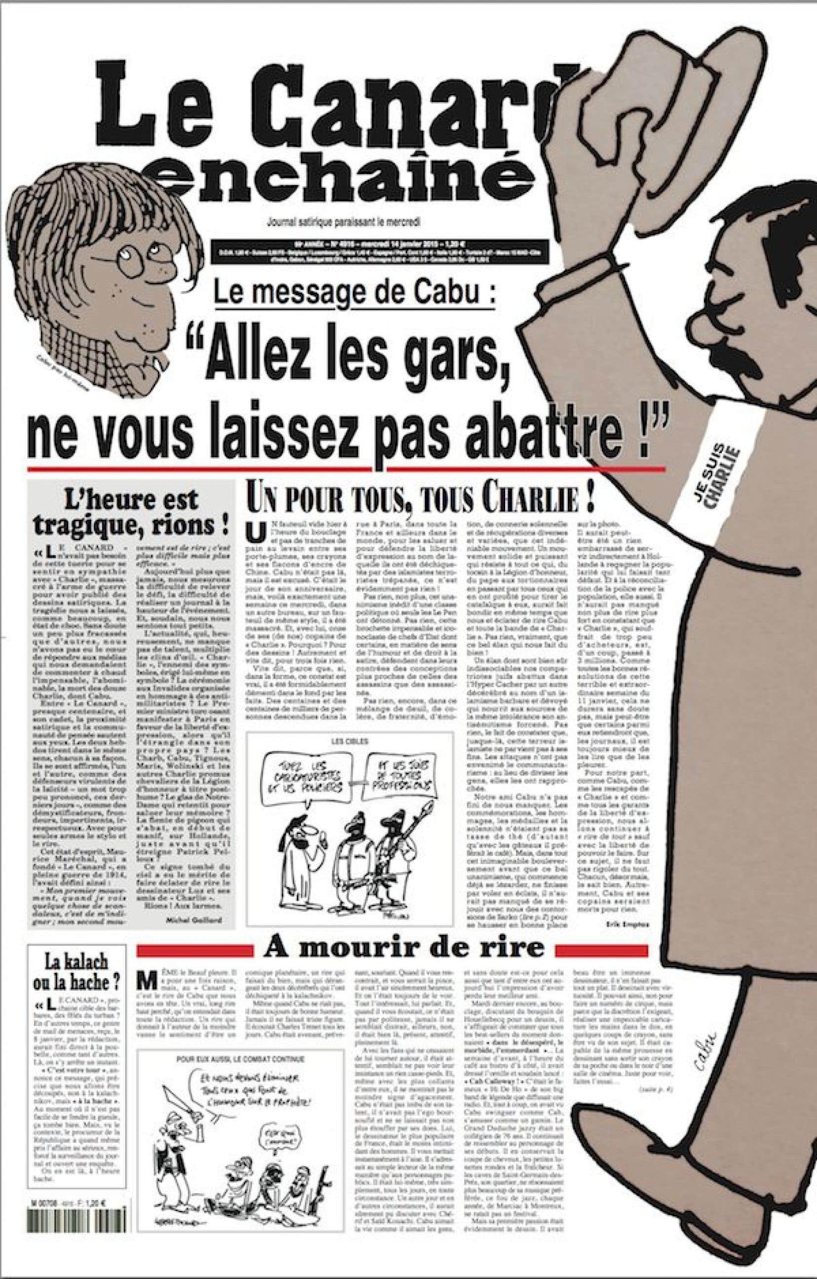 Tous les articles de la page que laisse circuler le Canard traitent de l'attentat àCharlie Hebdo.