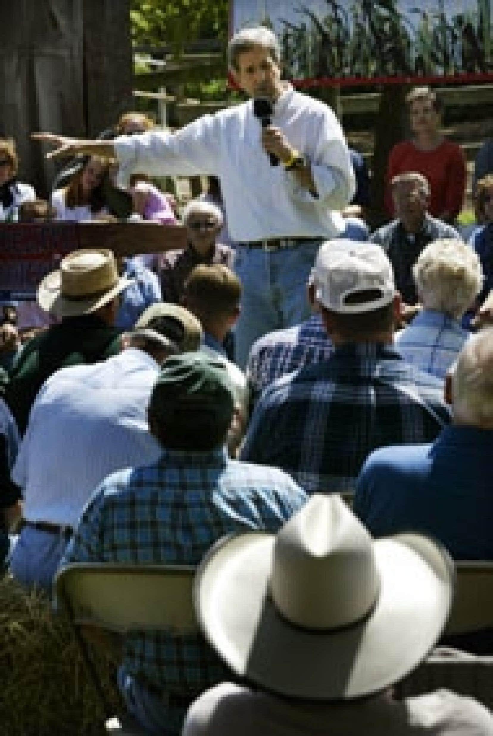 Le candidat démocrate faisait campagne hier chez les fermiers du Missouri.