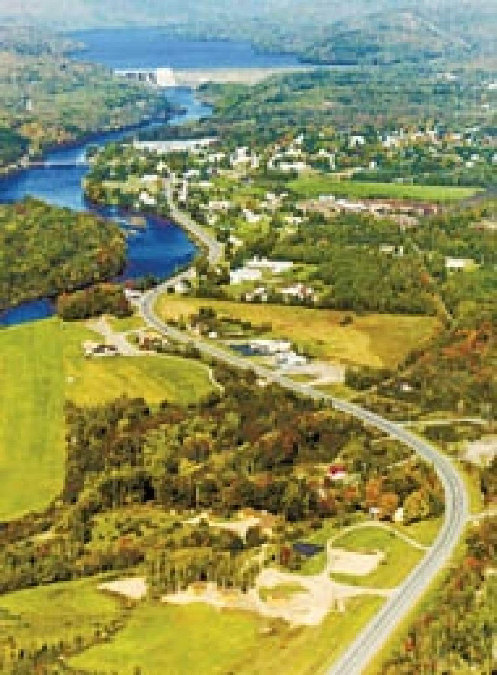 La ville de Bing Ham, dans le Maine, traversée par le rivière Kennebec et la route 201 qui rejoint la 173 au Québec. Source : Maine Tourism