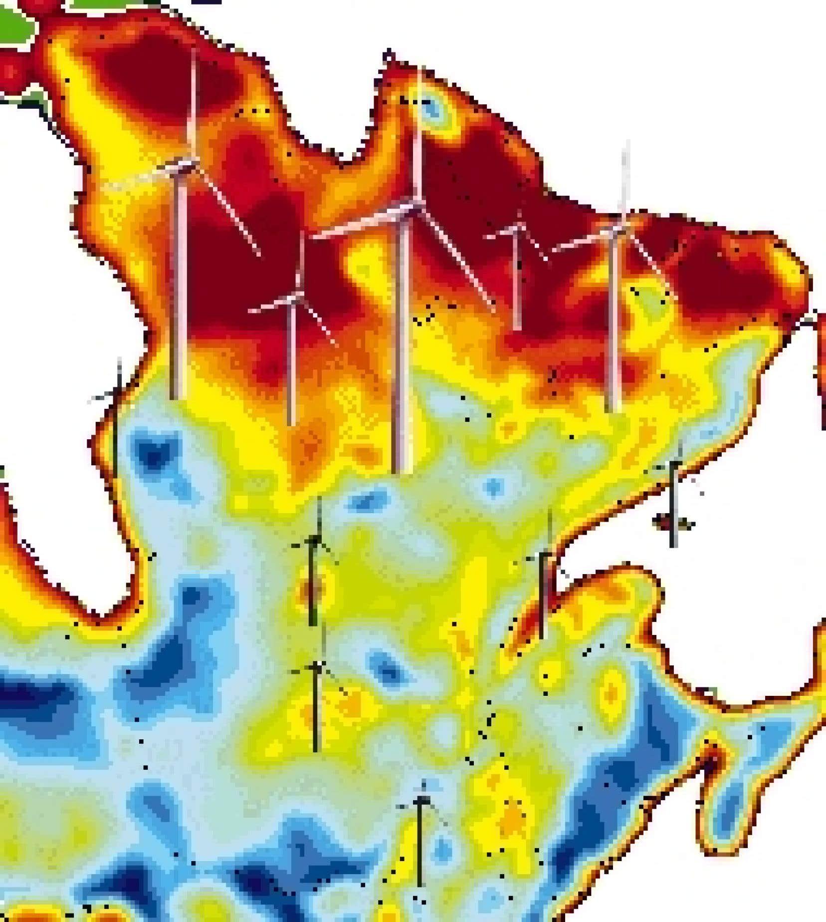 Les trois méga-gisements éoliens relevés par le système WEST d'Environnement Canada sont représentés en rouge foncé sur cette carte. Les régions les plus venteuses sont en rouge.