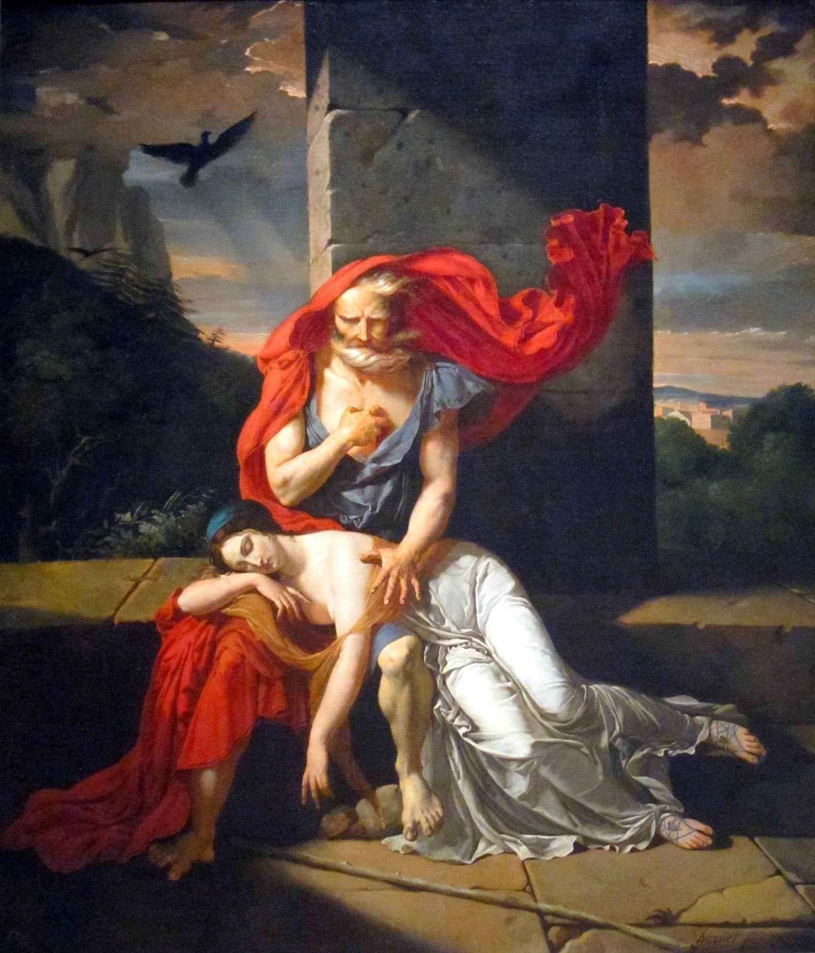 «Œdipe à Colone», mythe incontournable, tragédie de Sophocle, ici peint par Fulchran-Jean Harriet (huile sur toile, 1798)