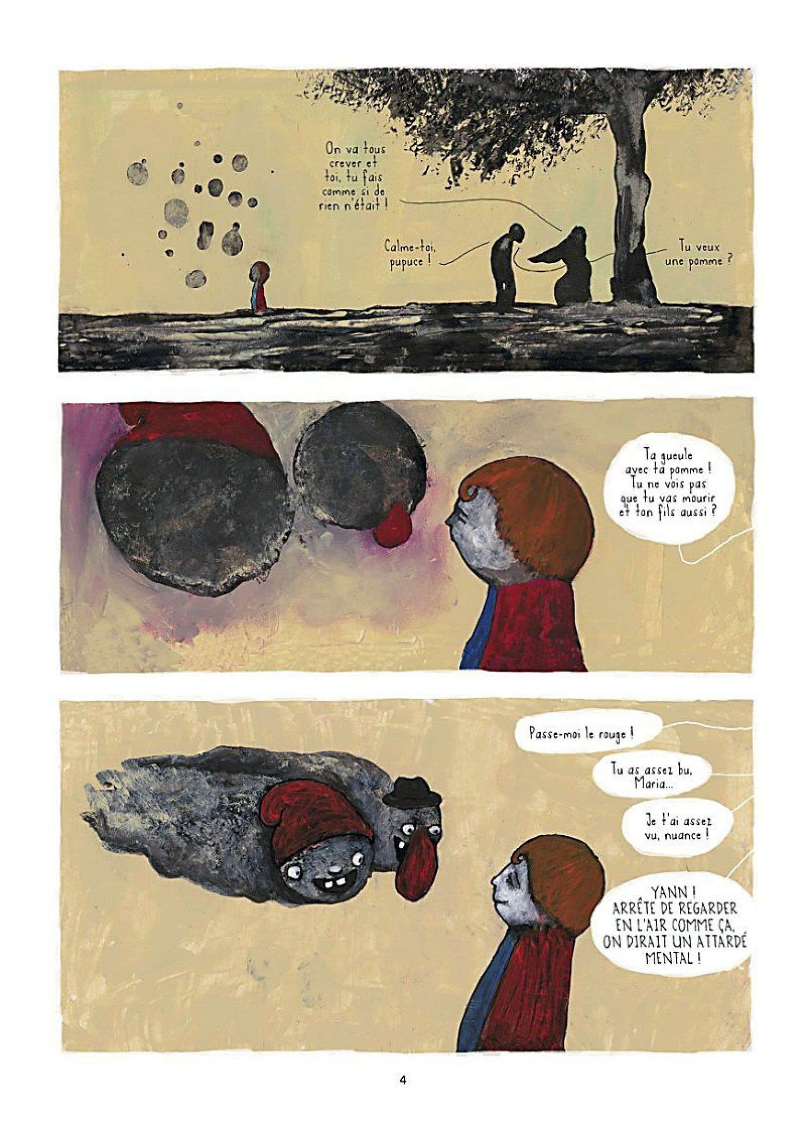 Le dessin a le trait violent et le décor fiévreux dans la bande dessinée «Mourir (ça n'existe pas)».