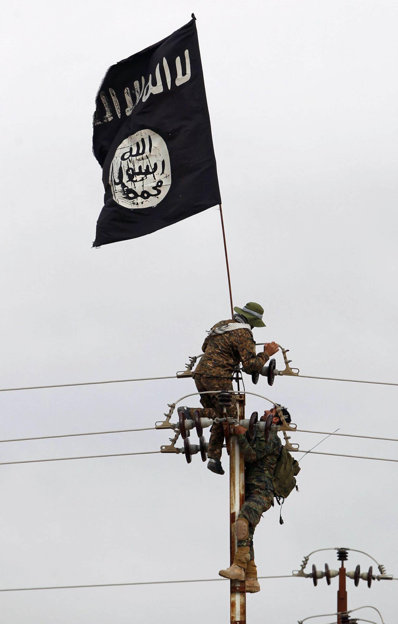 Au Proche-Orient, la marginalisation sociale n'explique pas à elle seule pourquoi le groupe État islamique tranche la tête des coptes et des yézidis qui refusent de se convertir à l'islam, et pourquoi les femmes yézidies sont considérées comme des «butins de guerre». Sur la photo, des combattants chiites irakiens retirent un drapeau du groupe État islamique.