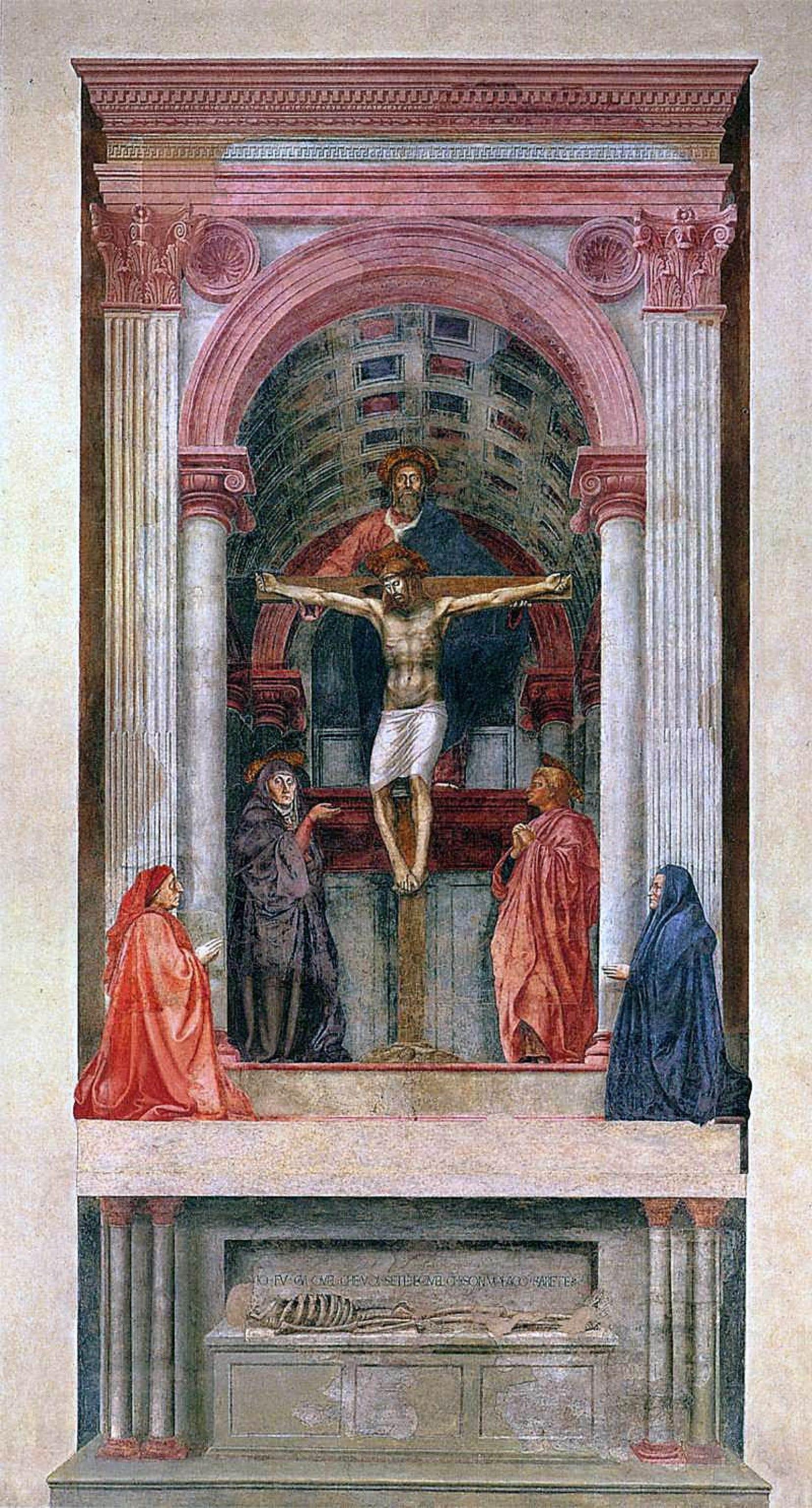 La grande «Trinité» (1425-1428) de Masaccio dans l'église Santa Maria Novella de Florence est un trompe-l'œil parfait.