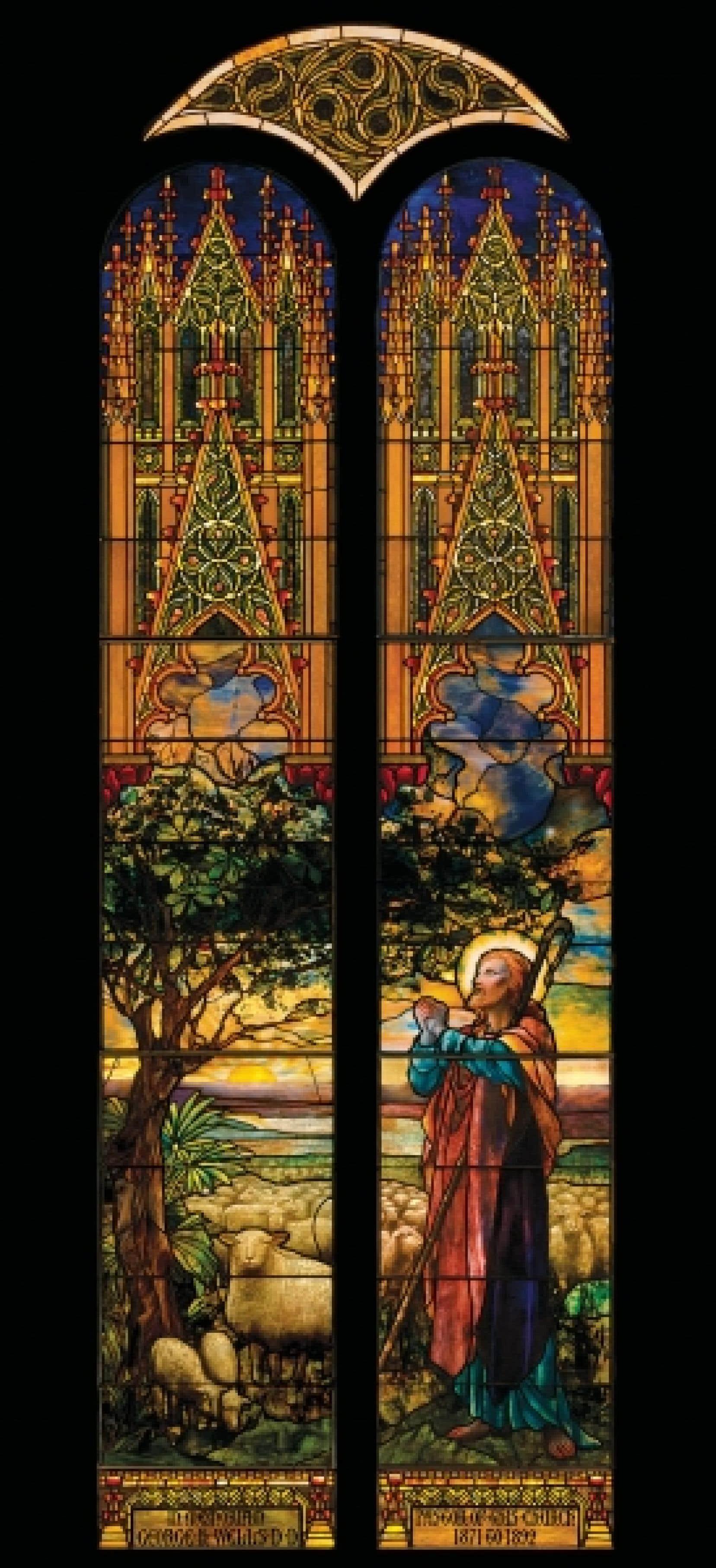 Louis C. Tiffany (1848-1933), Le Bon Pasteur, dessin de Frederick Wilson, 1897, verre, plomb.