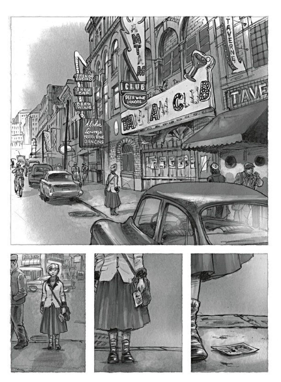 Planche tirée de «La femme aux cartes postales».