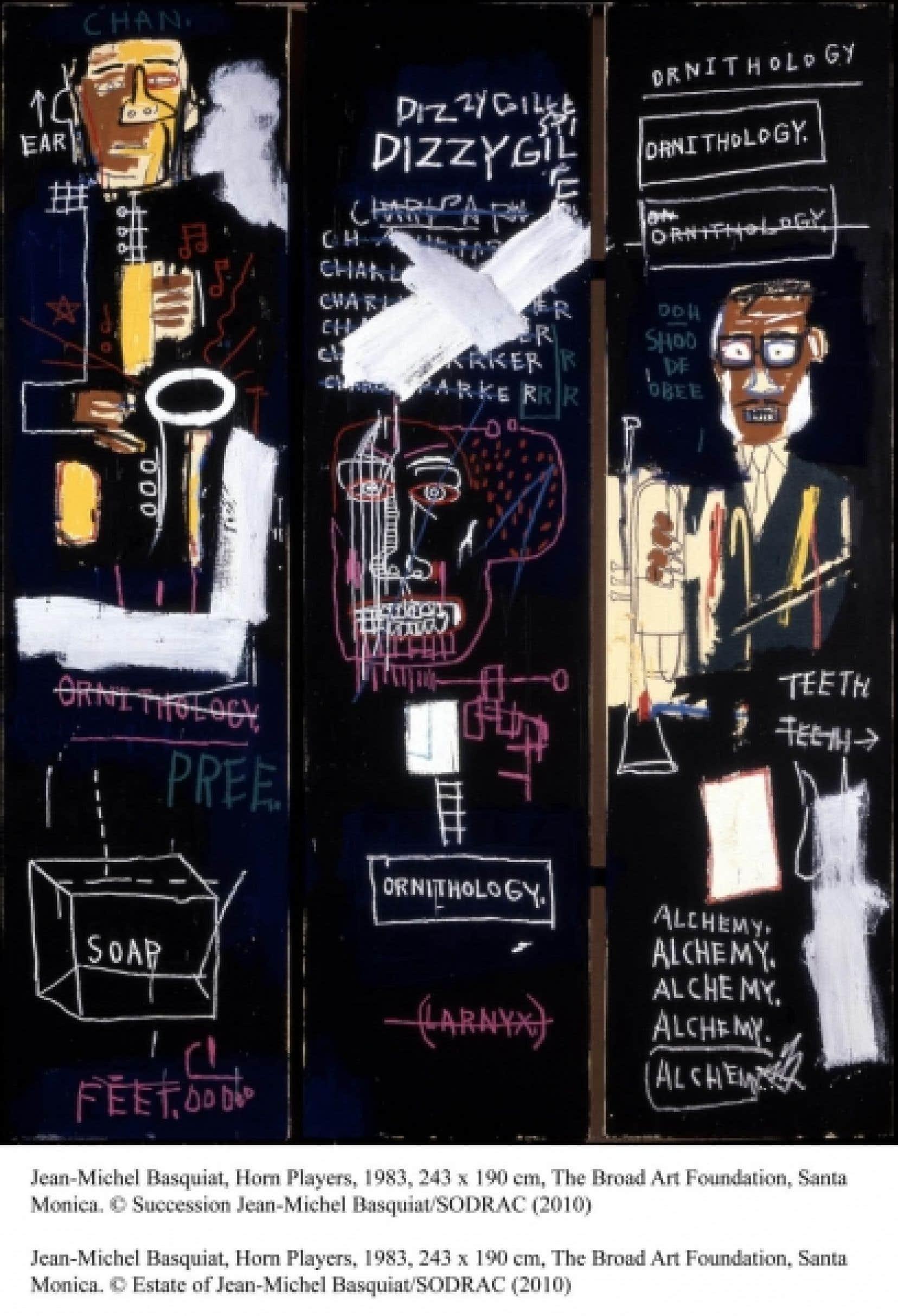 Horn Players, de Jean-Michel Basquiat, 1983, 243 x 190 cm. (The Broad Art Fondation, Santa Monica. Succession Jean-Michel Basquiat / SODRAC, 2010)