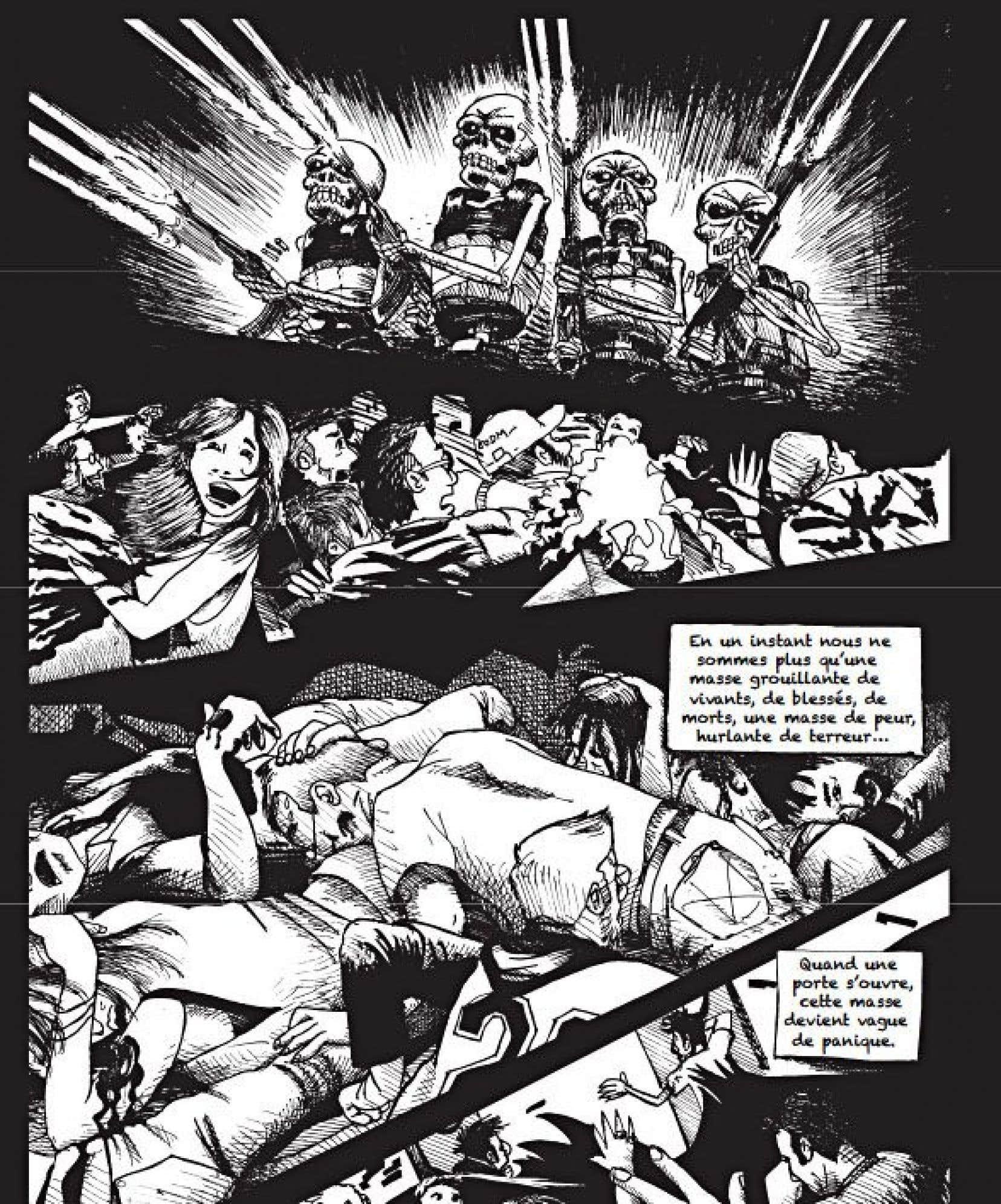 «Mon Bataclan» remonte le fil d'un temps suspendu, depuis les minutes qui ont précédé l'entrée en scène des terroristes avec leur scénario macabre jusqu'à la sortie des survivants dans l'hébétement et l'incompréhension.