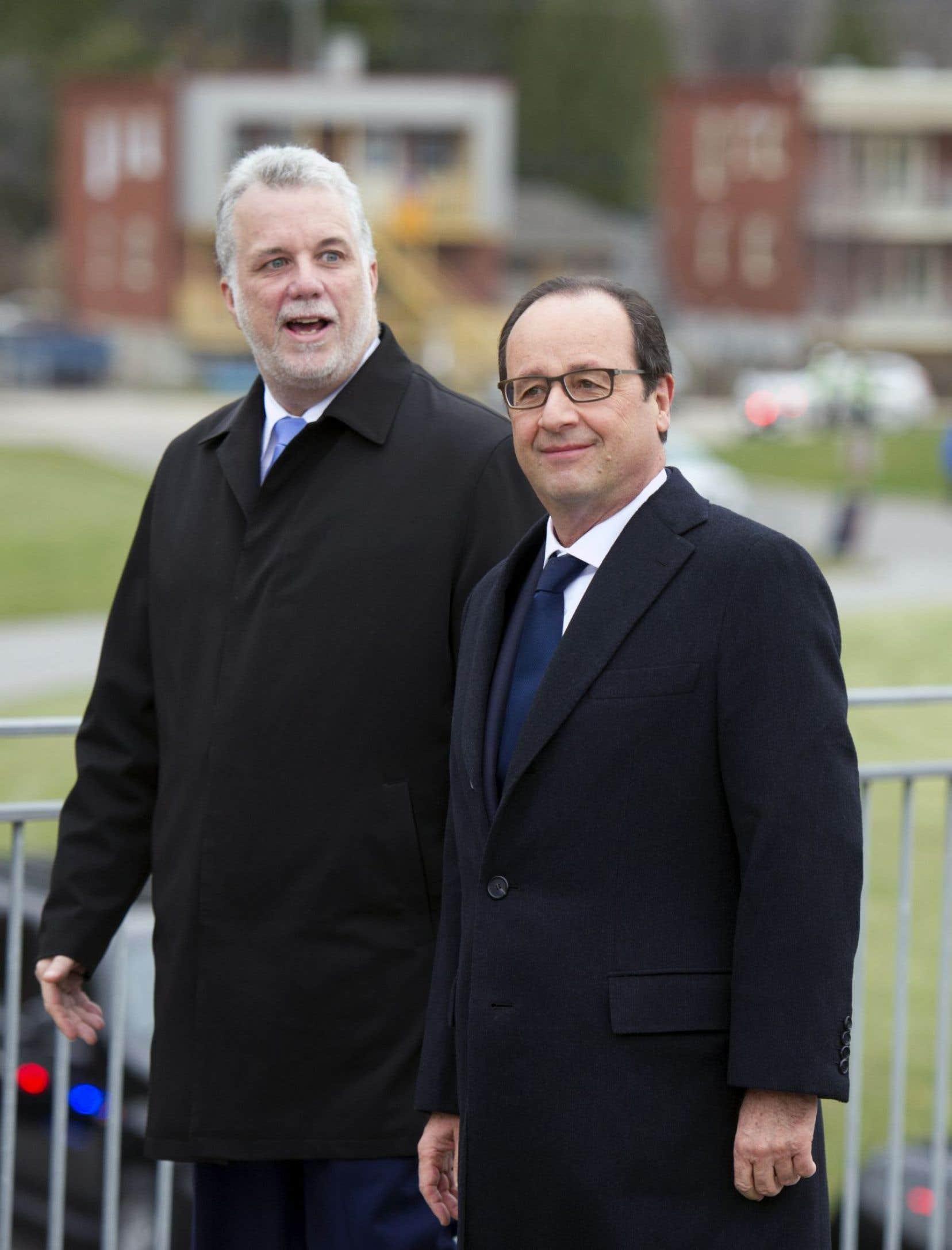Philippe Couillard et François Hollande lors du passage de ce dernier au Québec, en novembre 2014