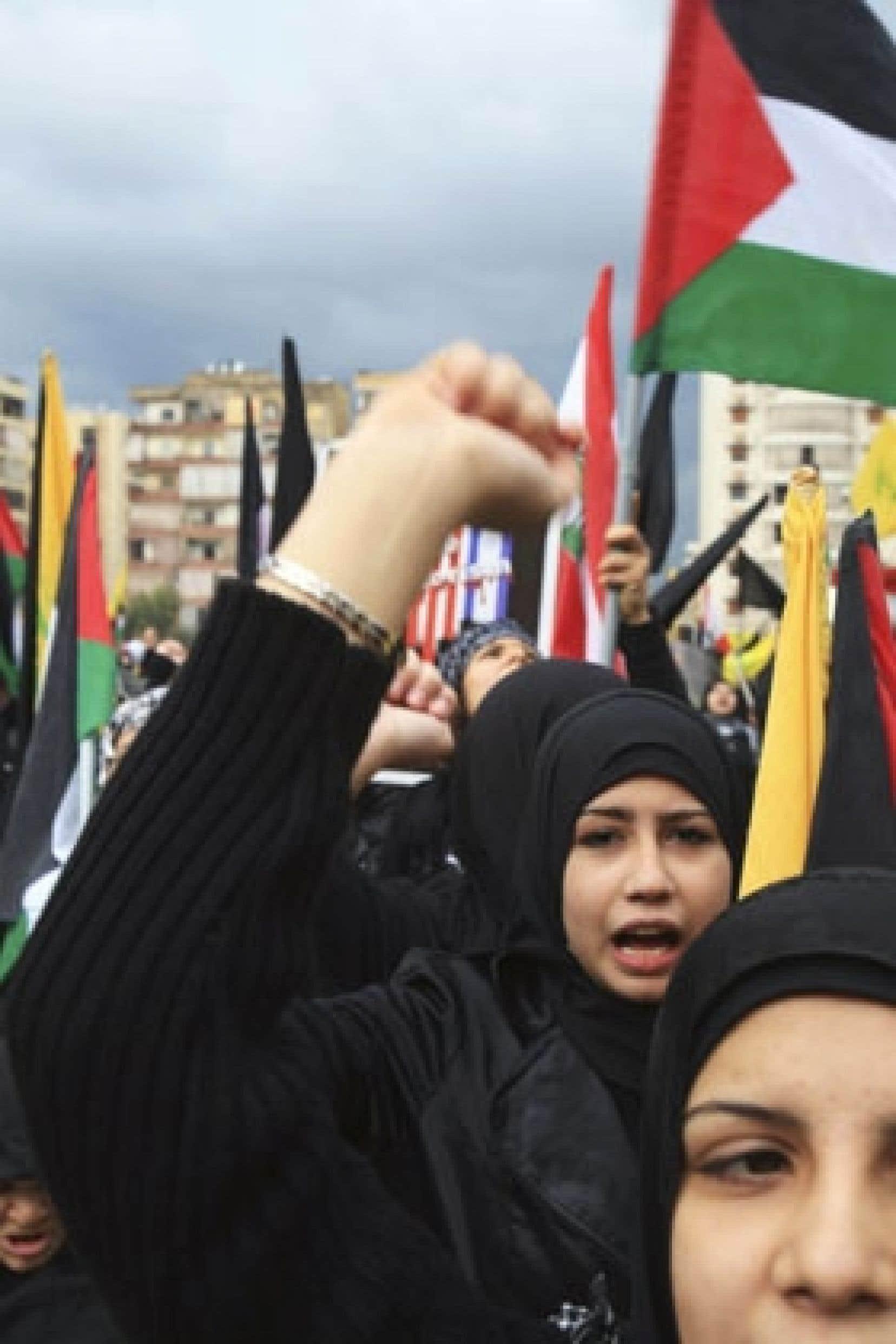 Rassemblement de militantes du mouvement chiite libanais à Beyrouth, lundi