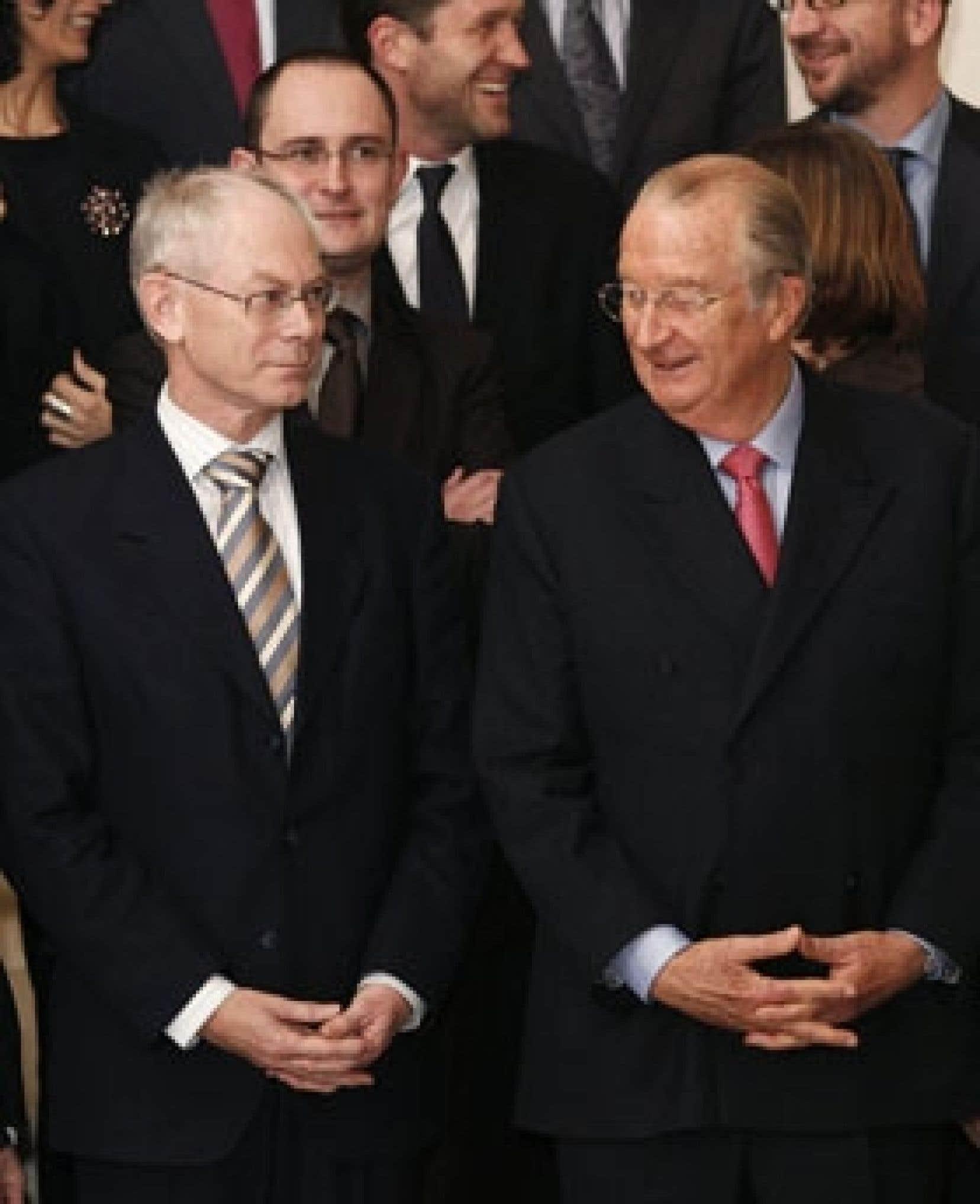 Herman Van Rompuy en compagnie du roi Albert II, hier à Bruxelles