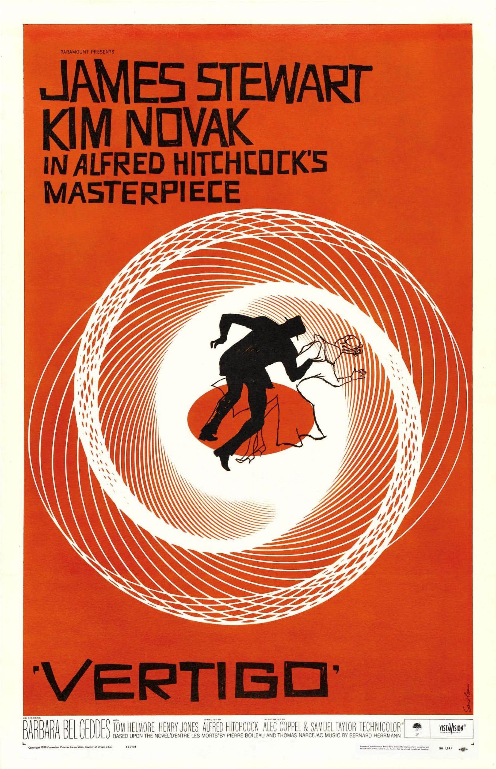 L'affiche originale du film «Sueurs froides» conçue par Saul Bass