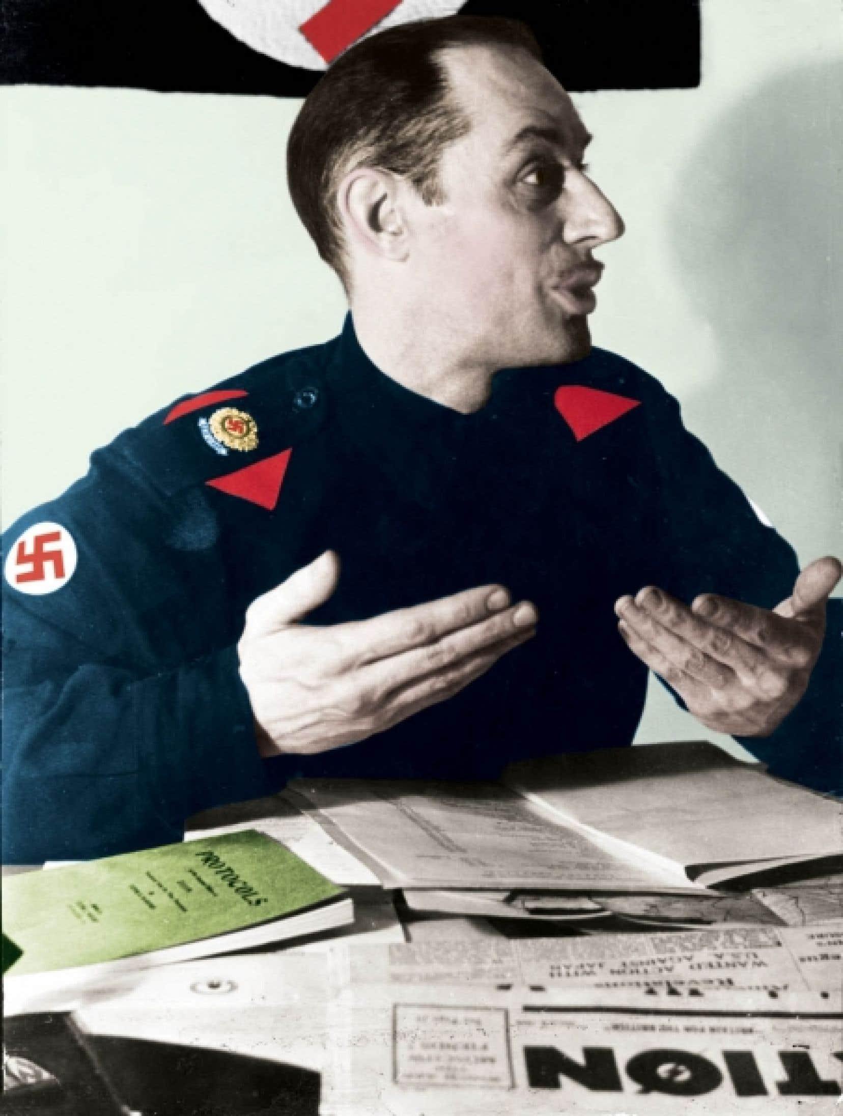 Adrien Arcand dans son uniforme de chef du Parti national social chrétien, à l'époque où il était aussi rédacteur en chef du quotidien montréalais L'Illustration nouvelle.