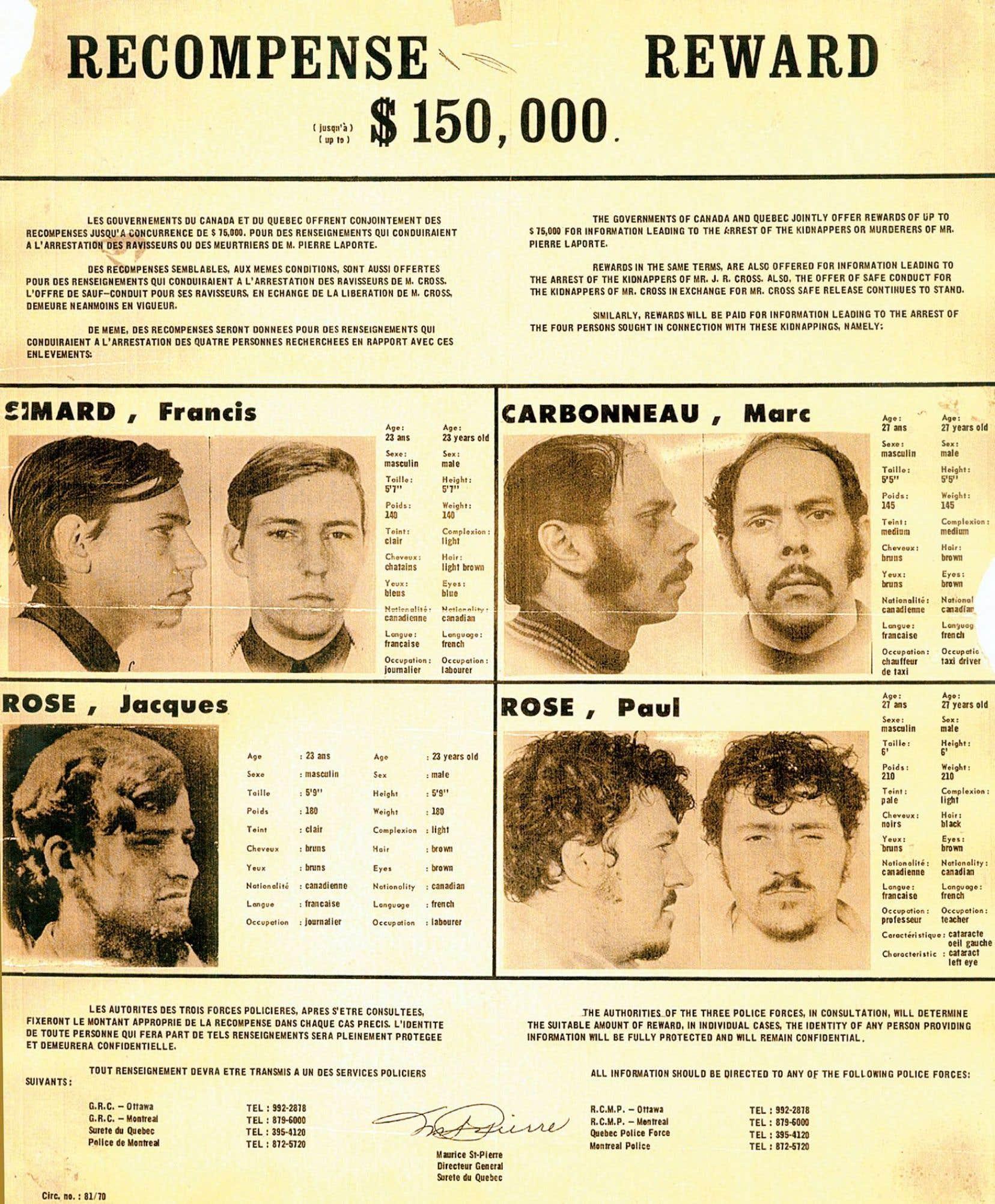 La tête des membres des cellules Libération et Chénier est mise à prix dans la foulée des événements d'octobre 1970.