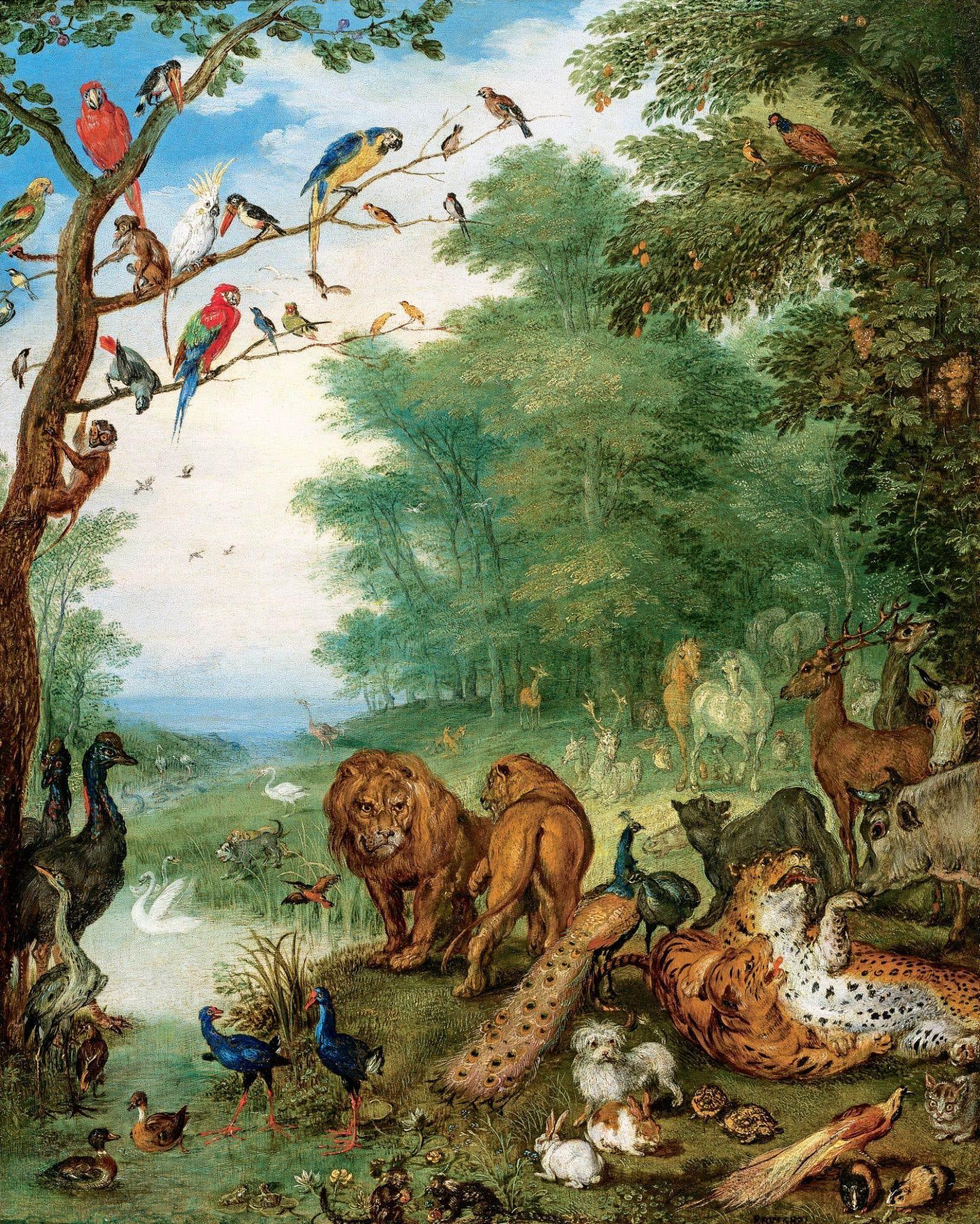 <em>Paysage du paradis peuplé d'animaux et d'oiseaux dans une clairière, près d'un étang</em> (1617 ou 1615), Jan Bruegel le Vieux