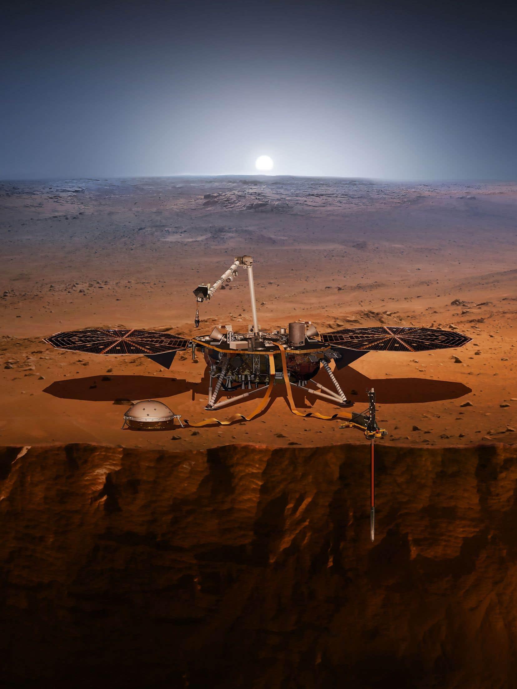 <em>InSight</em> doit récolter des données par le biais de trois instruments: un sismomètre, un dispositif permettant de localiser avec précision la sonde tandis que Mars oscille sur son axe de rotation et un capteur de flux de chaleur inséré à 5 m dans le sous-sol martien.