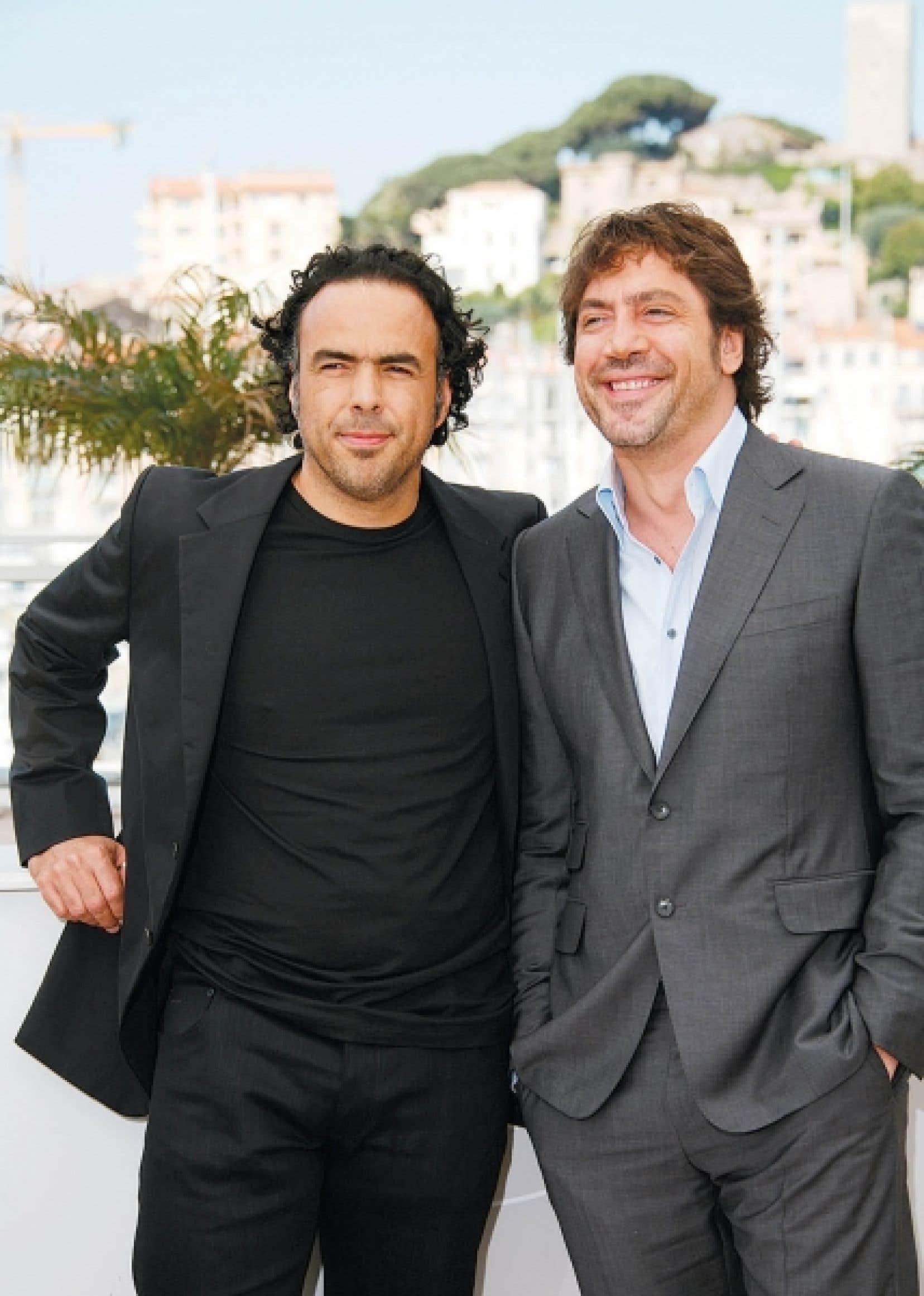 Le réalisateur mexicain Alejandro González Iñárritu aux côtés de l'acteur principal de son film Biutiful, l'Espagnol Javier Bardem, hier, à Cannes.