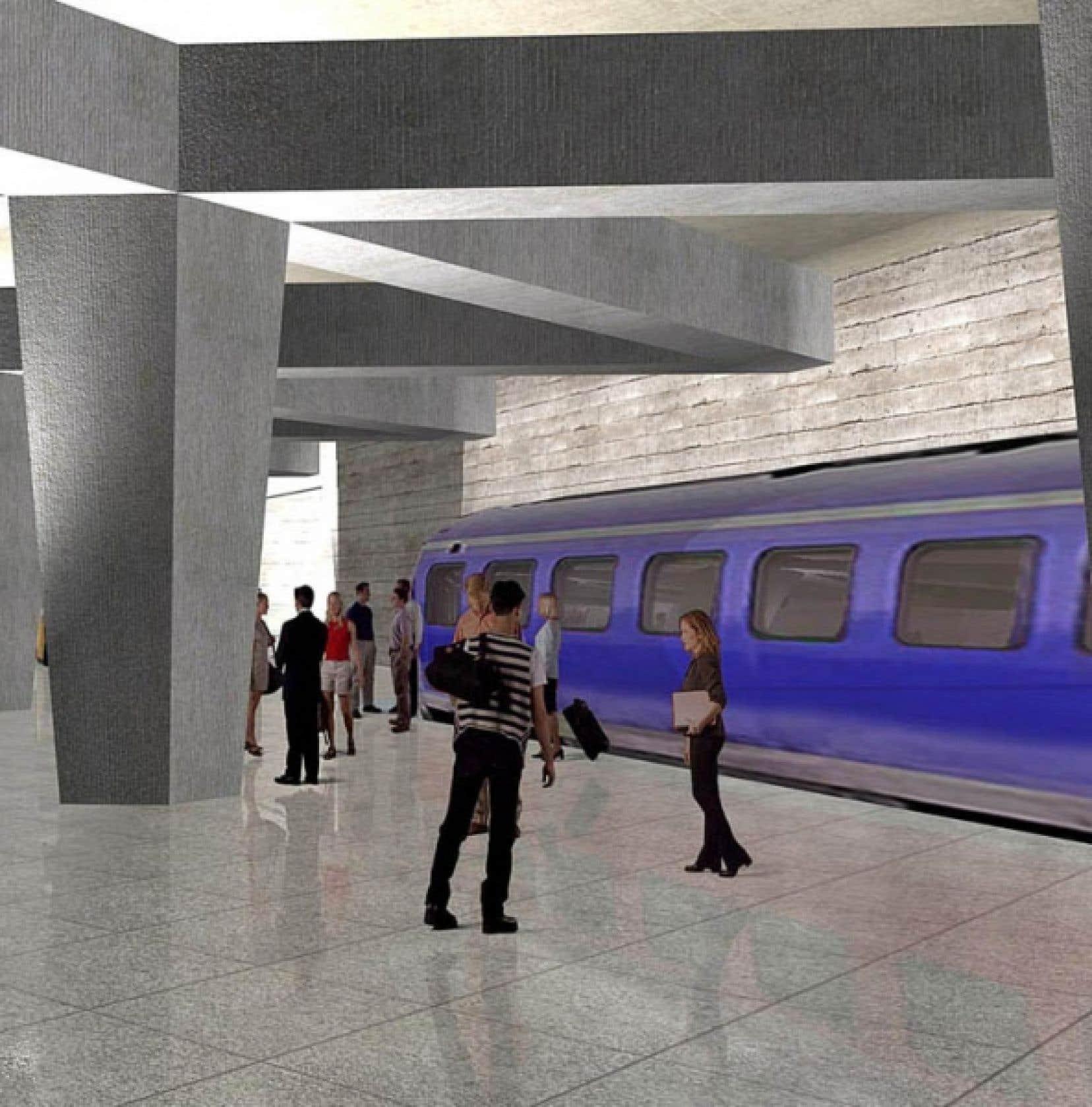 Une illustration du projet d'aérotrain d'ADM pour relier directement la gare Centrale et l'aéroport Pierre-Trudeau.