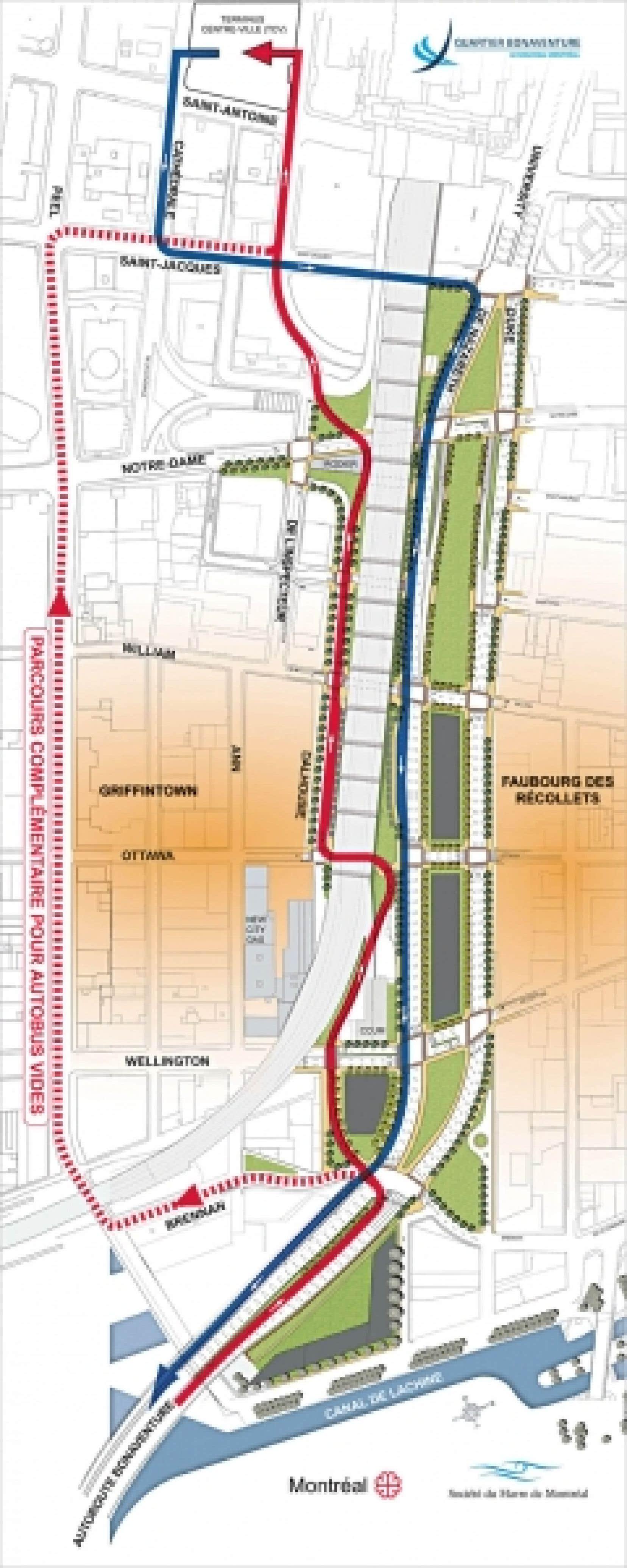 Les autobus provenant de la Rive-Sud (en rouge) emprunteront un trac&eacute; sinueux afin d&rsquo;&eacute;viter de percer le viaduc ferroviaire et &eacute;pargner l&rsquo;immeuble patrimonial de la New City Gas. Dans l&rsquo;autre direction, les autobus emprunteront le futur boulevard Bonaventure (en bleu) en direction de la Rive-Sud.<br />